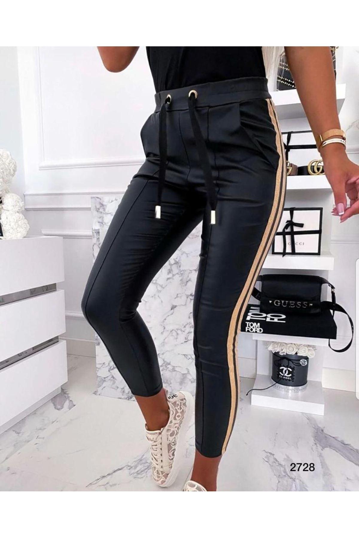 Yan Şeritli Deri Pantolon - gold