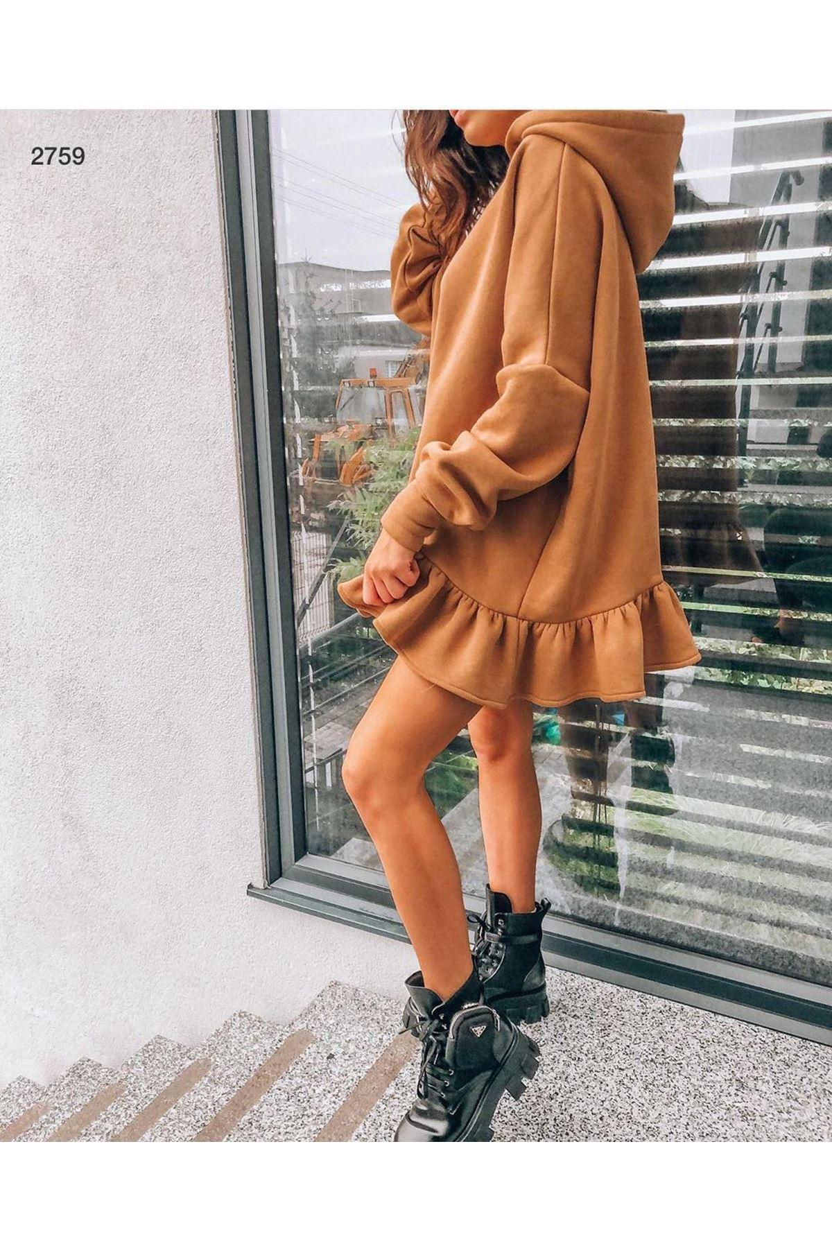 Fırfır 3 İplik Şardonlu Elbise - TABA