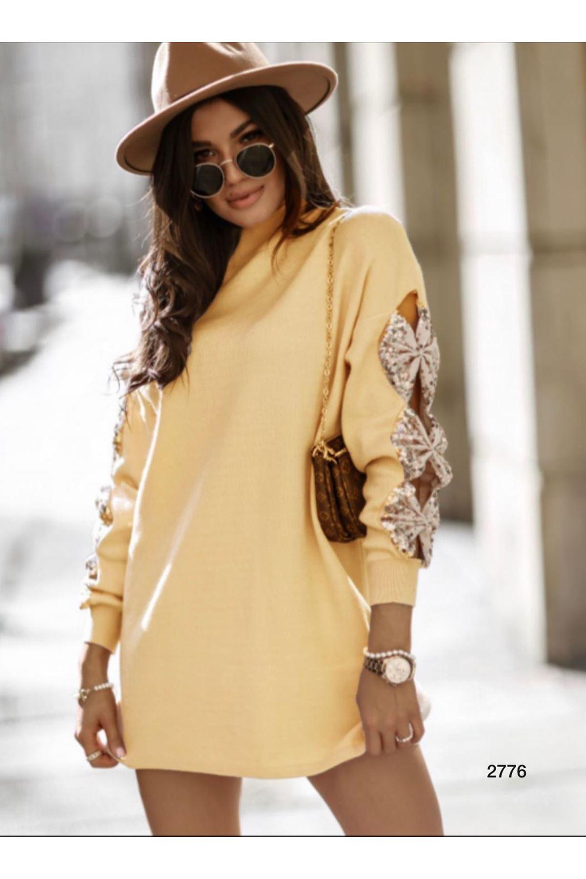 Kolları Pul Detaylı Triko Elbise - sarı