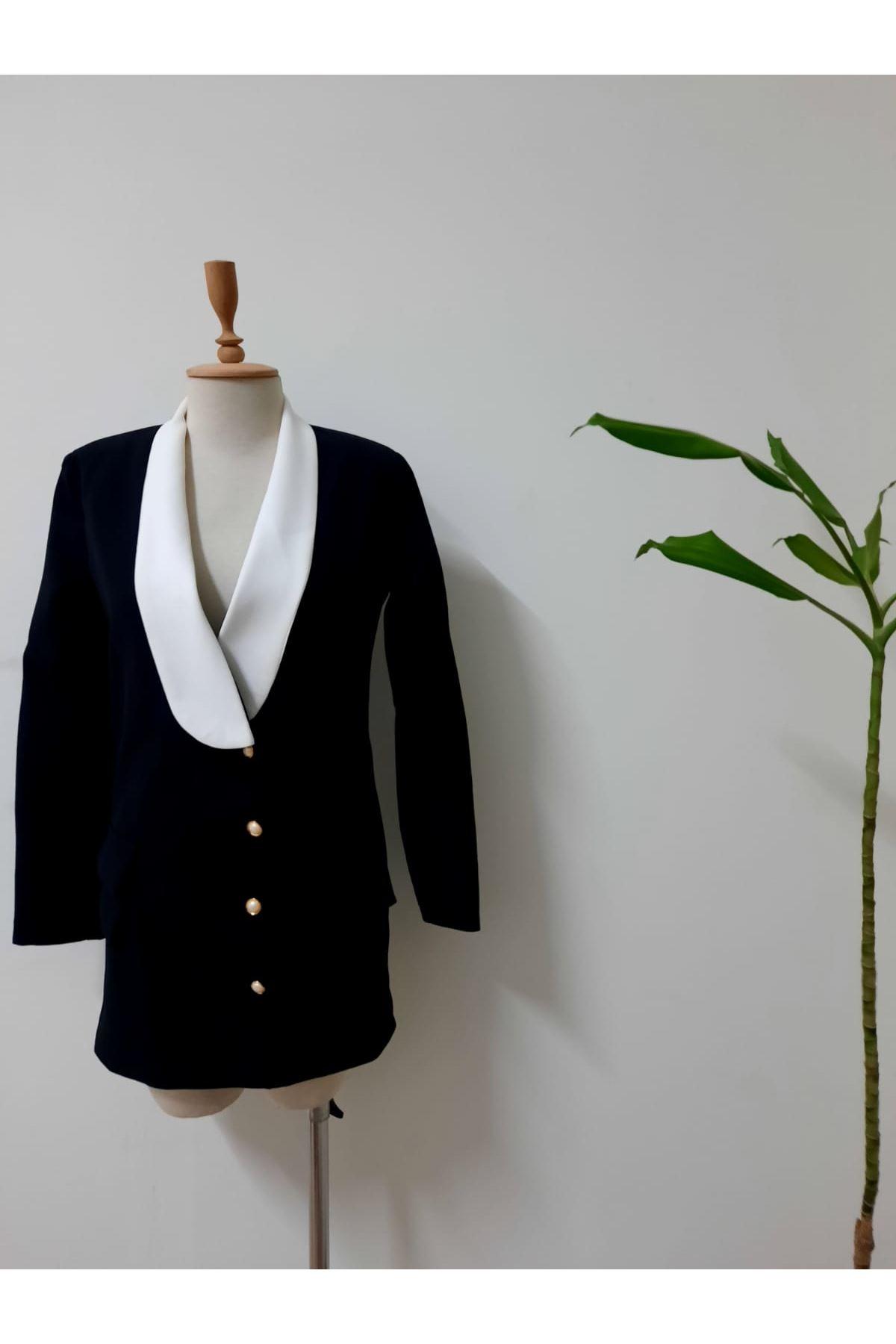 Yaka Detaylı Astarlı Ceket  Elbise - SİYAH