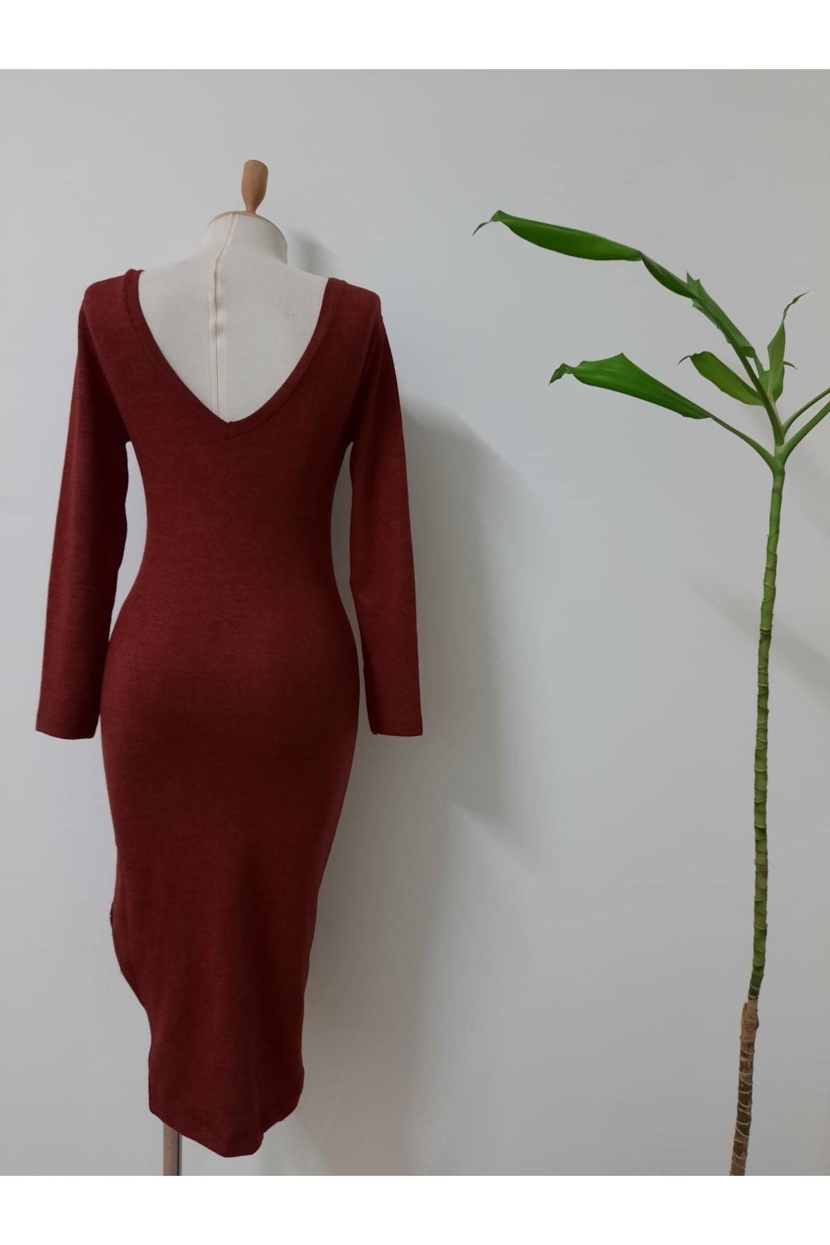 Yanı Yırtmaç Yumoş Elbise - Bordo