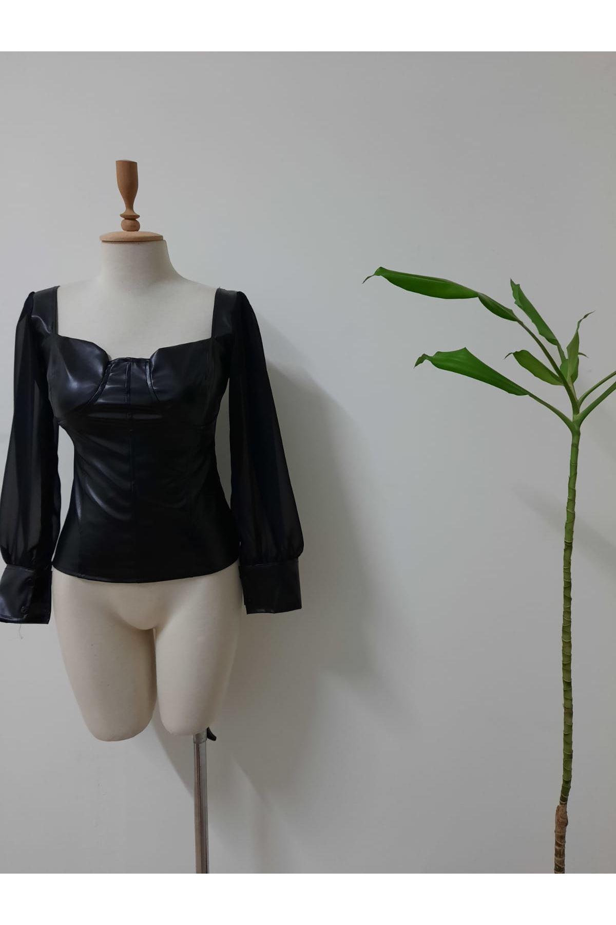 U Yaka Deri Bluz - siyah