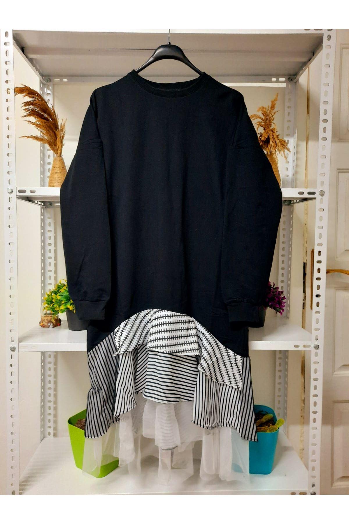 Eteği Garnili Asimetrik Elbise - siyah