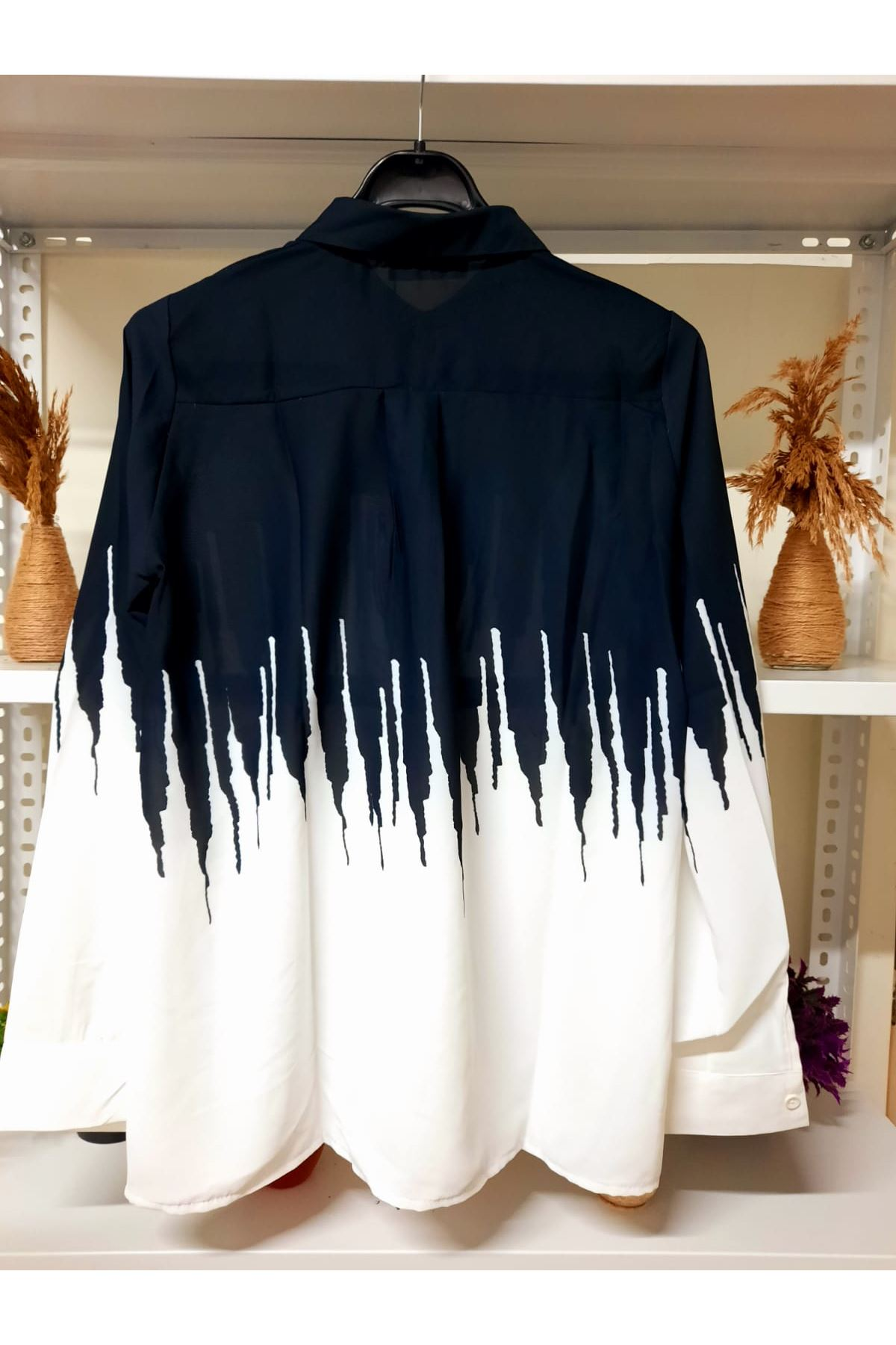 saten kumaş Dijital Baskılı Gömlek - siyah
