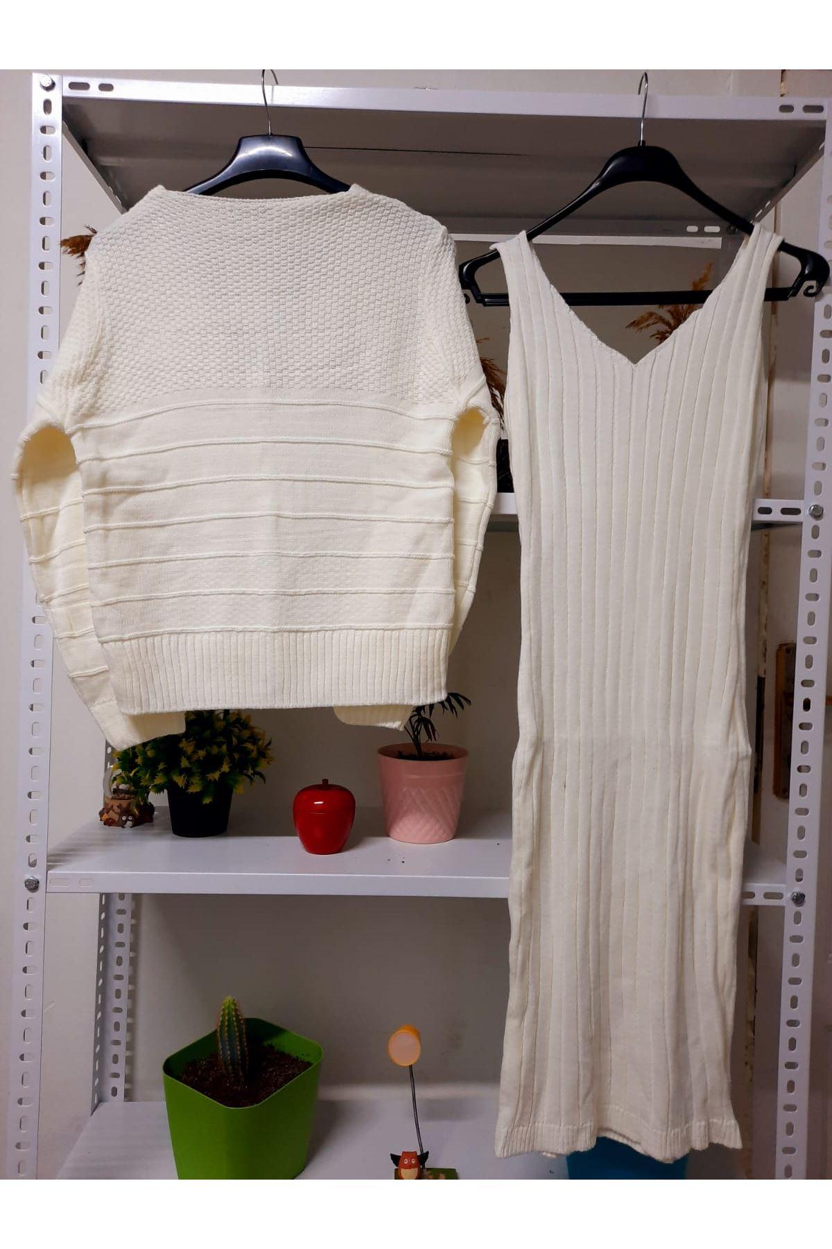 Hırka+Triko Elbise Set - beyaz