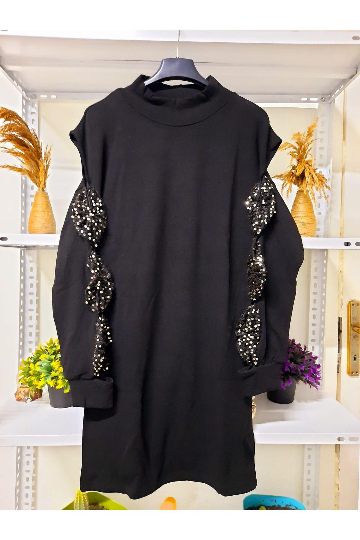 Kolları Pul Detaylı Triko Elbise - siyah