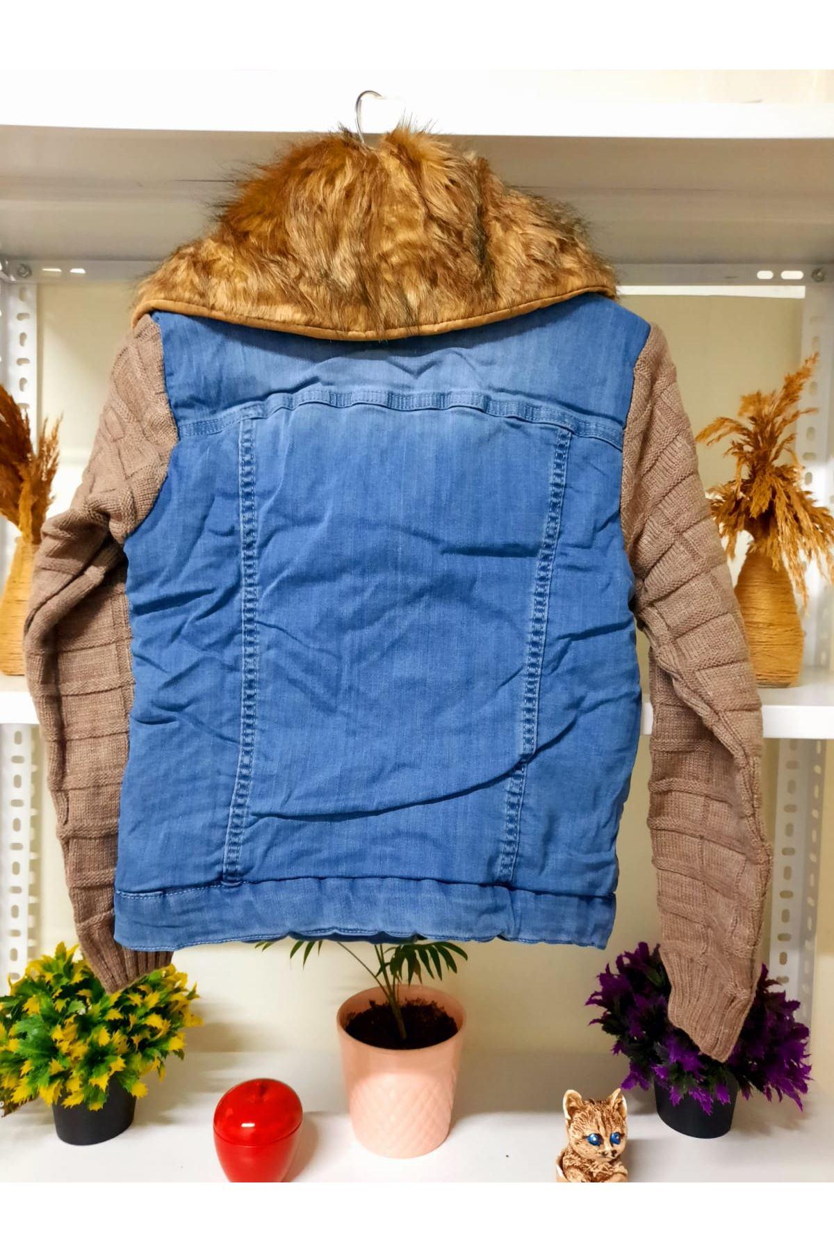 Kolları Triko Peluş Kot Ceket - mavi