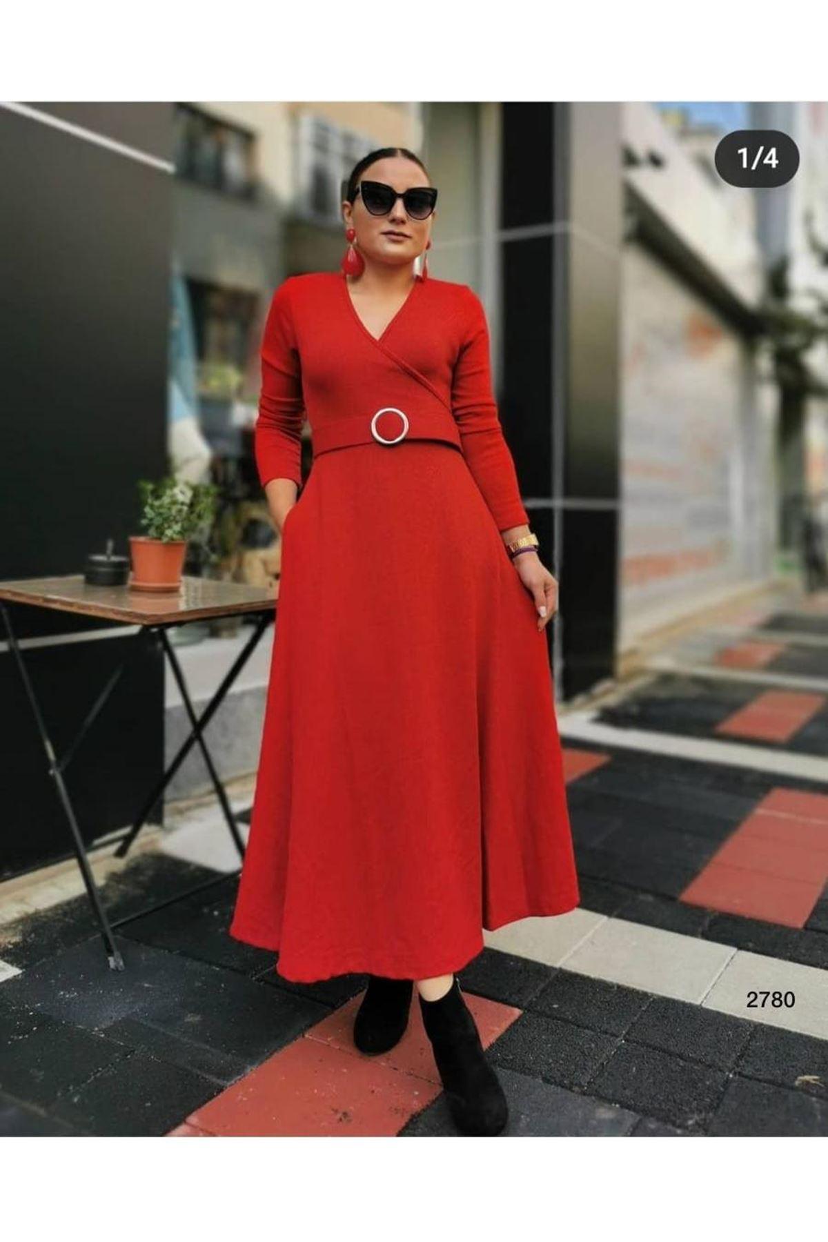 Kemerli Midiboy Elbise - kırmızı