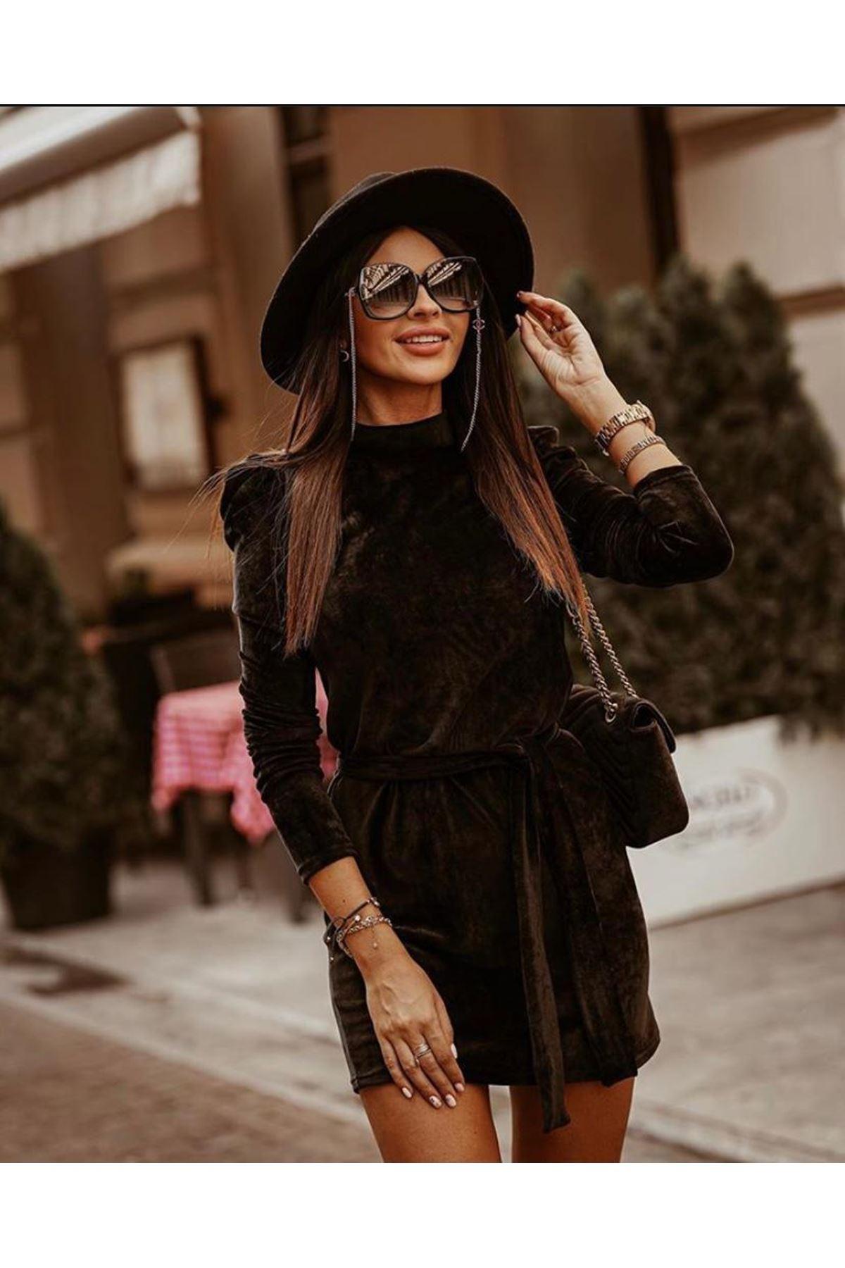 Kuşaklı Kadife Elbise - SİYAH