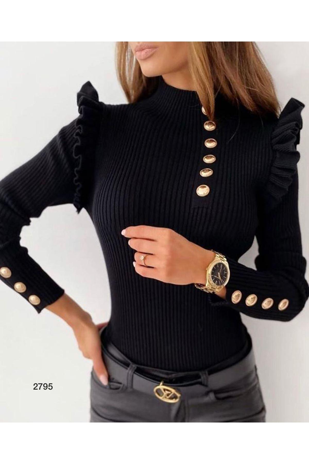 Düğme Detaylı Bluz - siyah