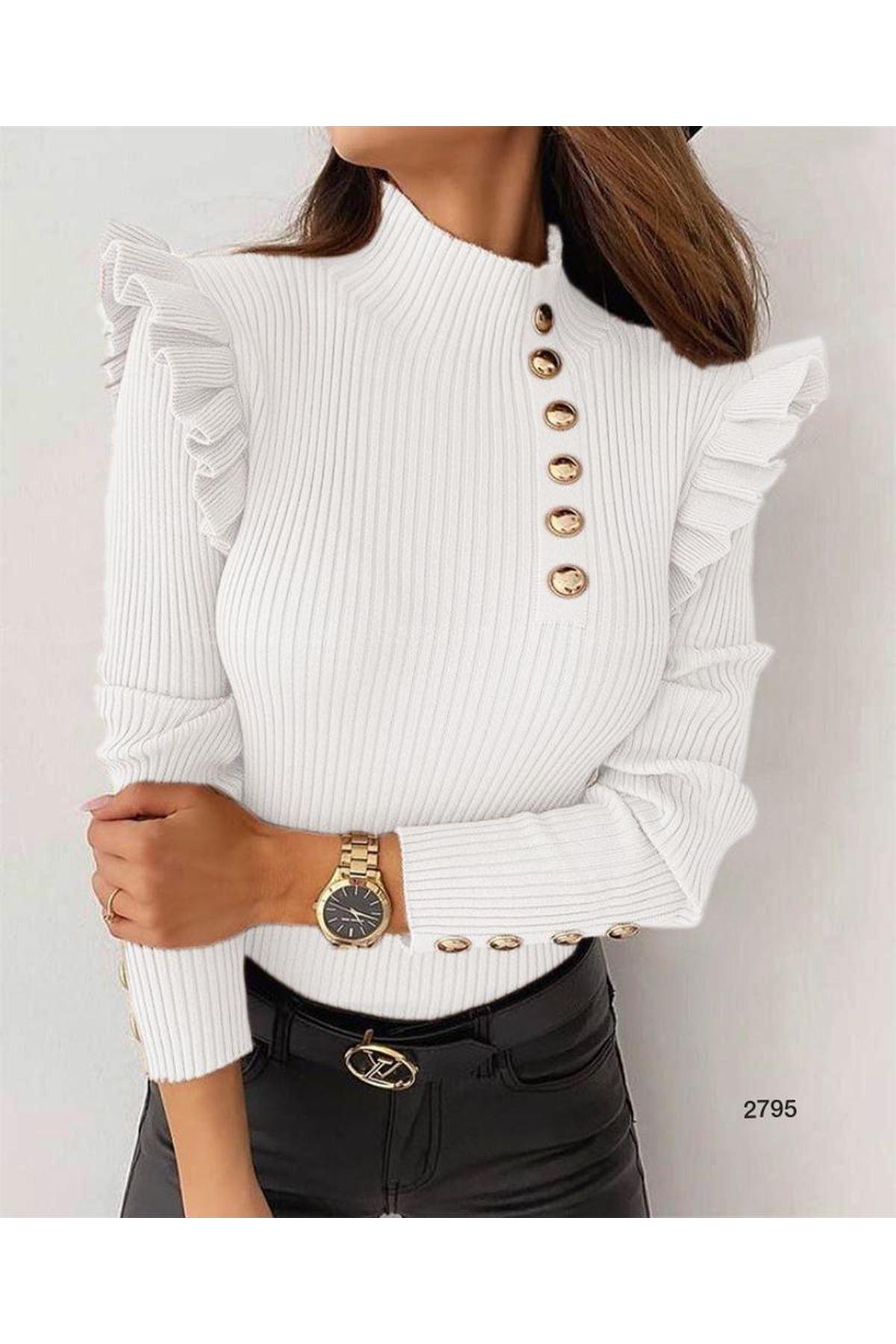 Düğme Detaylı Bluz - beyaz