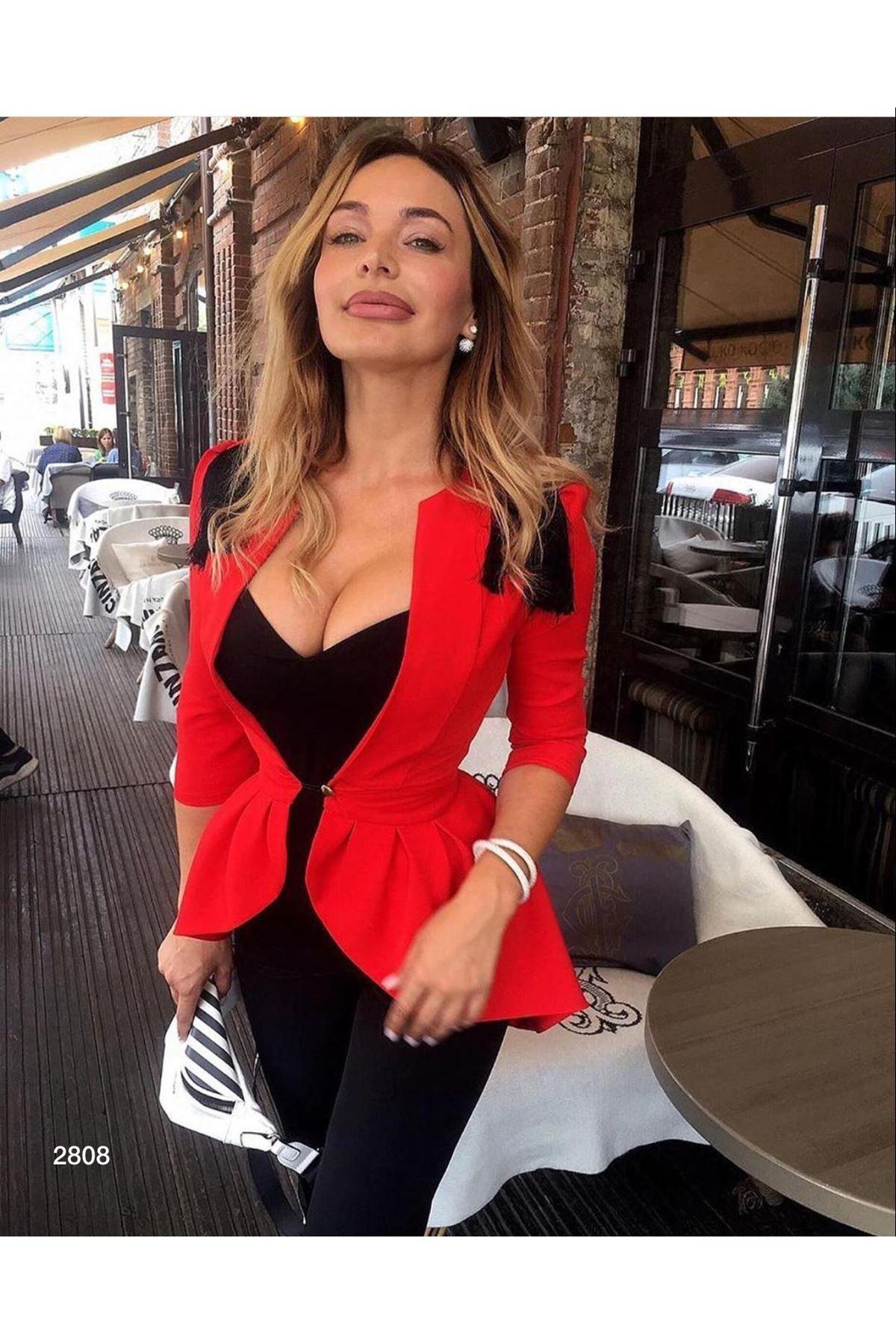 Double Tasarım Ceket - kırmızı