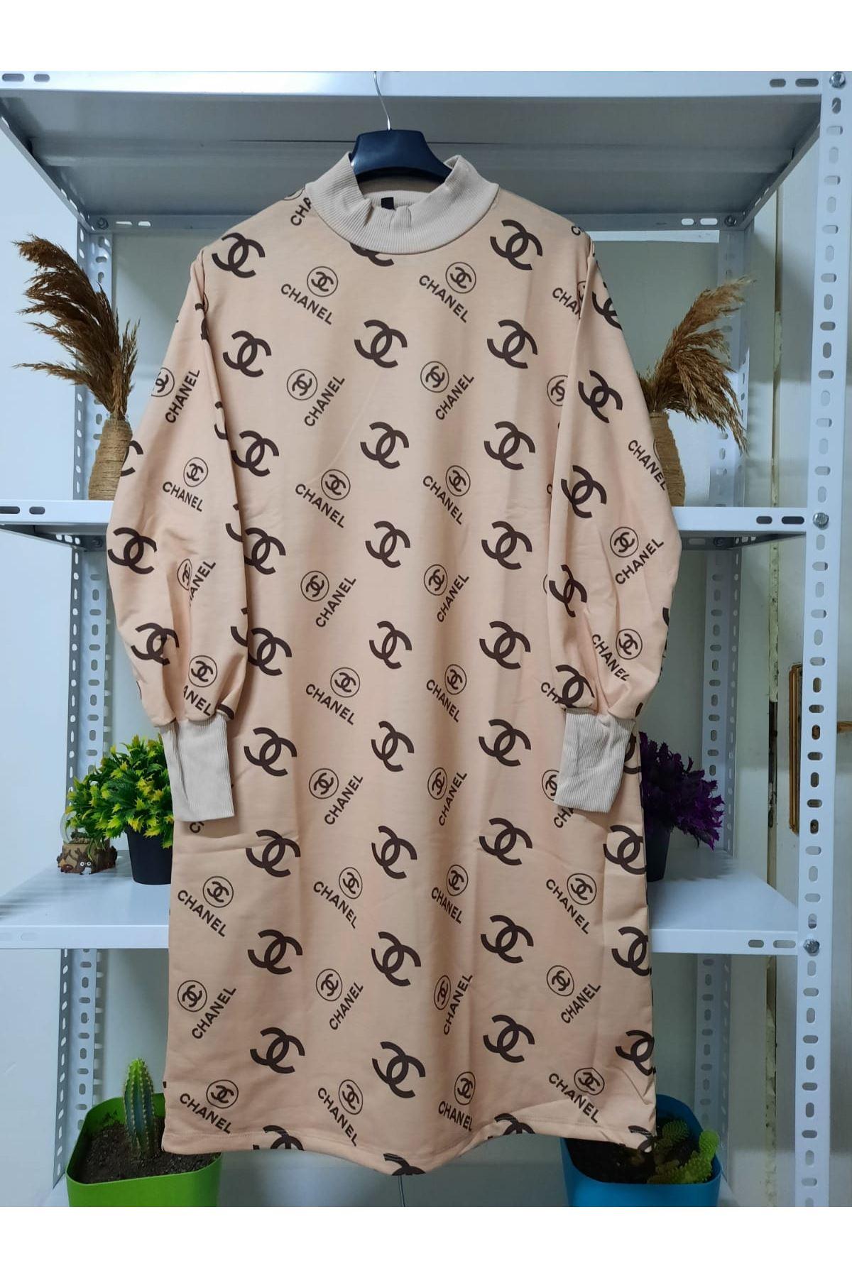 Yarım Balıkçı Yaka Baskılı Elbise - BEJ