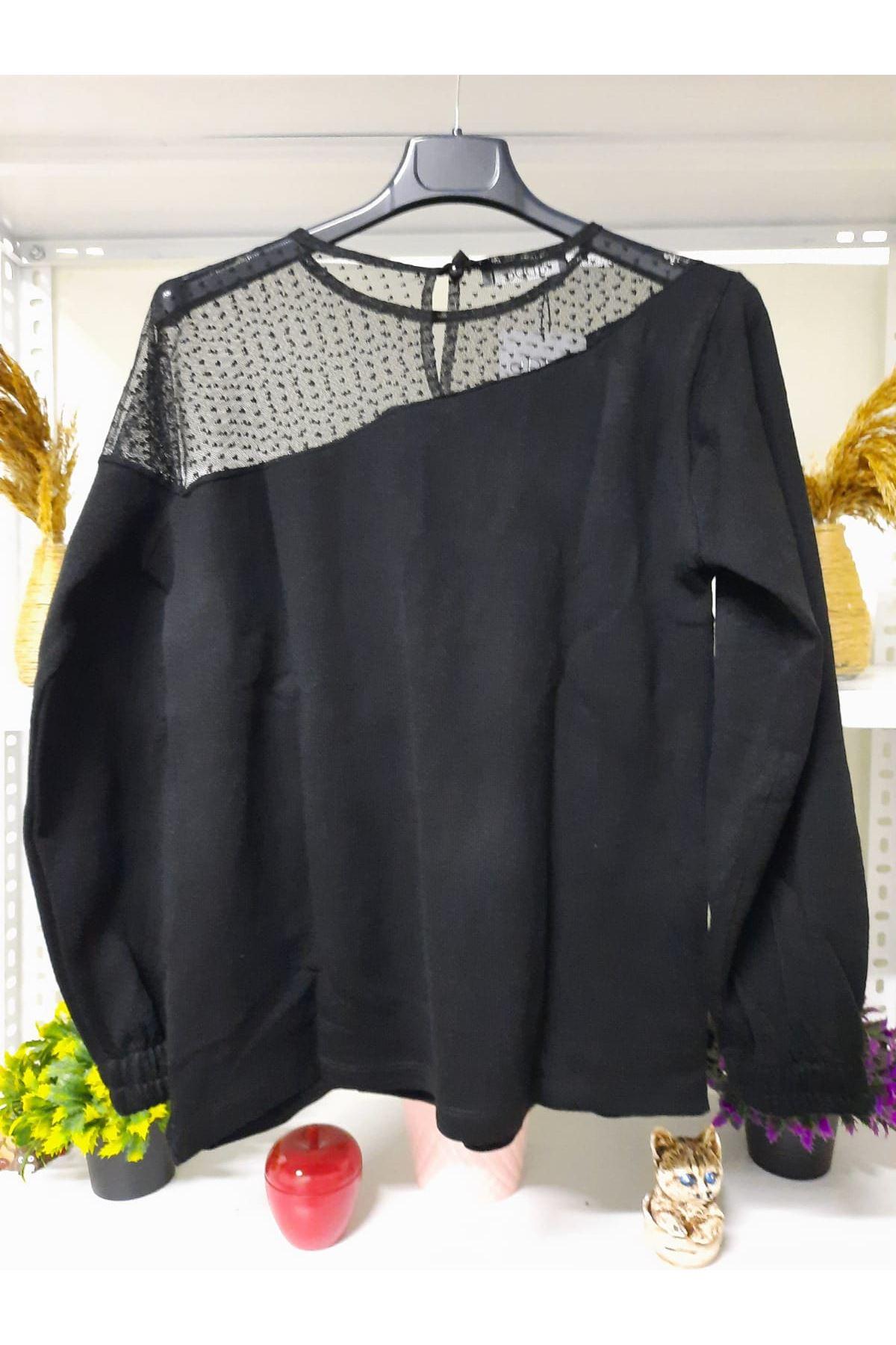 Tül Puan Tasarım Bluz - siyah