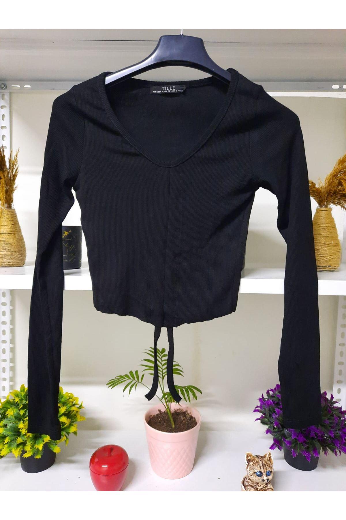 Büzgü Crop Bluz - SİYAH