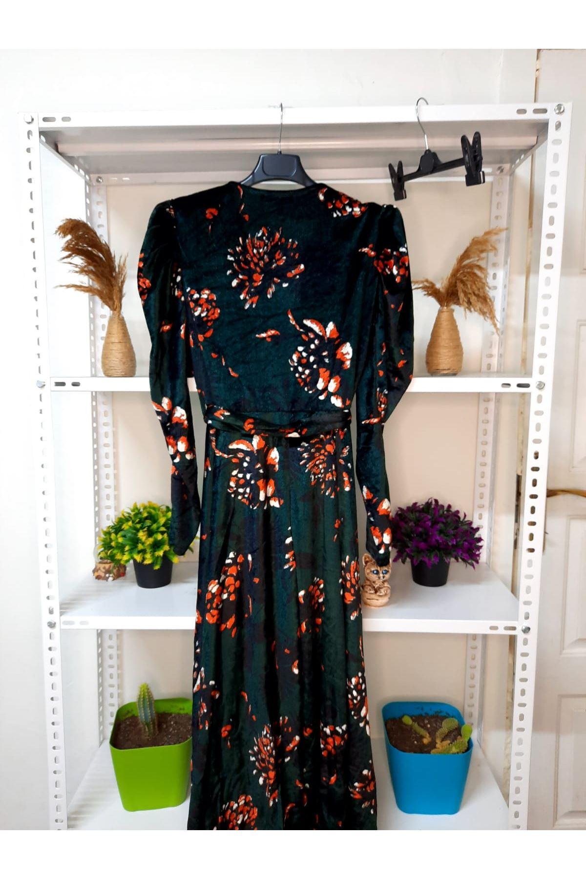 Kravuze Çiçekli Elbise - zümrüt