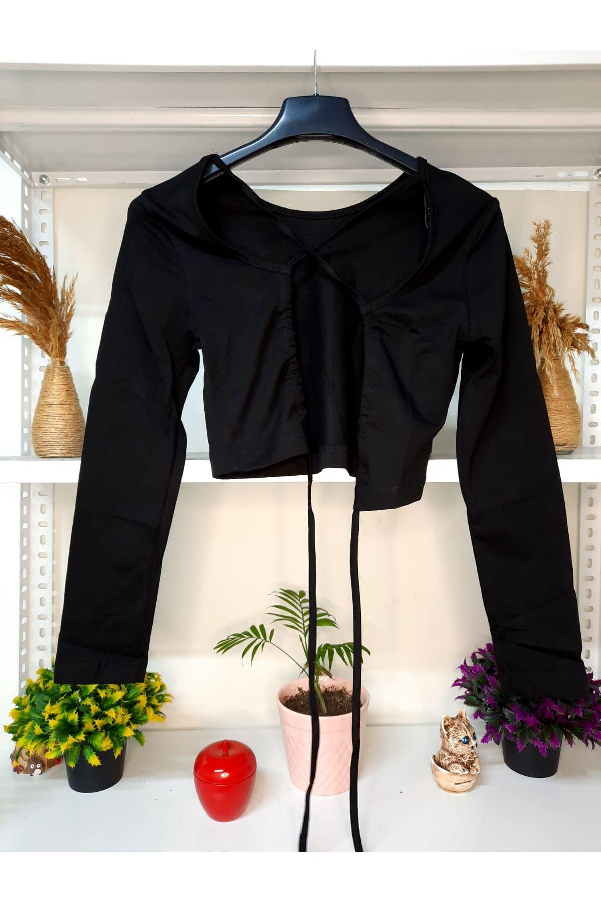 Sırt Tasarım Crop Bluz - siyah