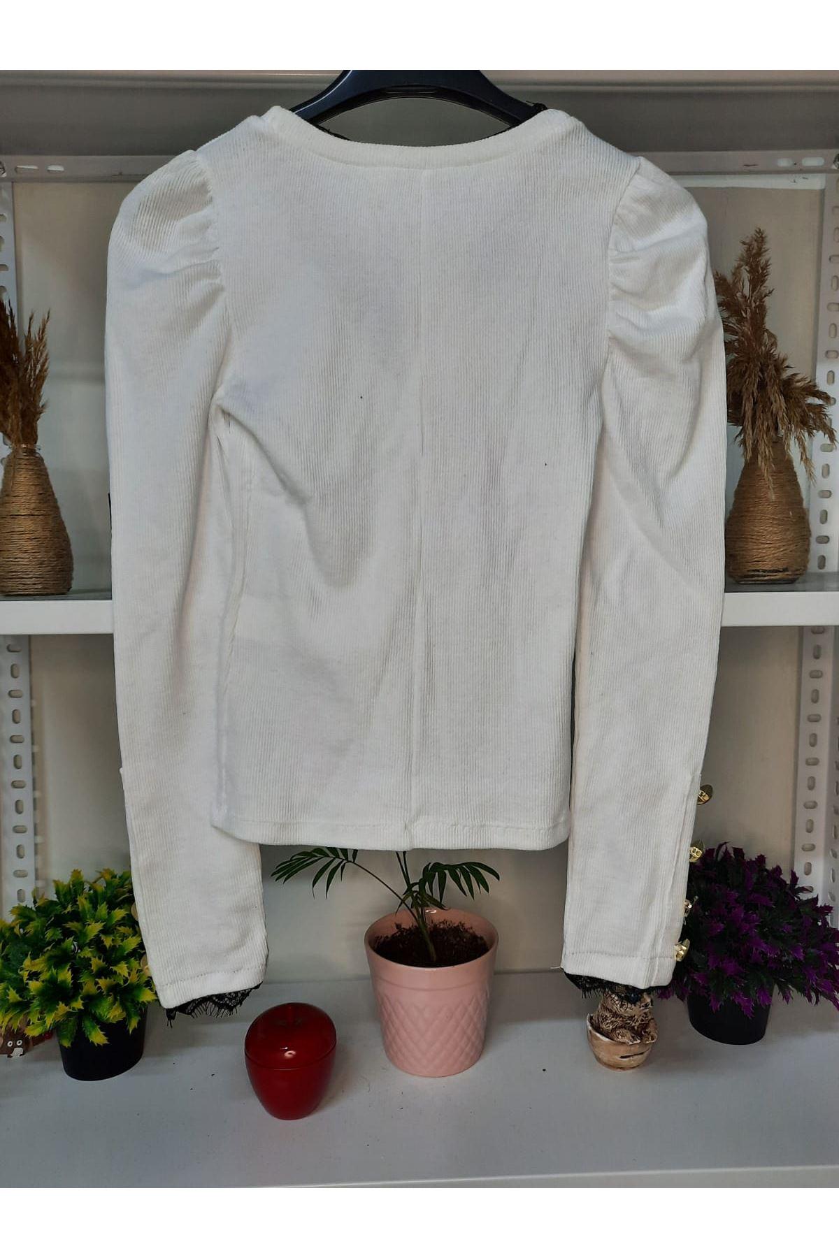 Kol Ve Yaka Dantel Detay Bluz - beyaz