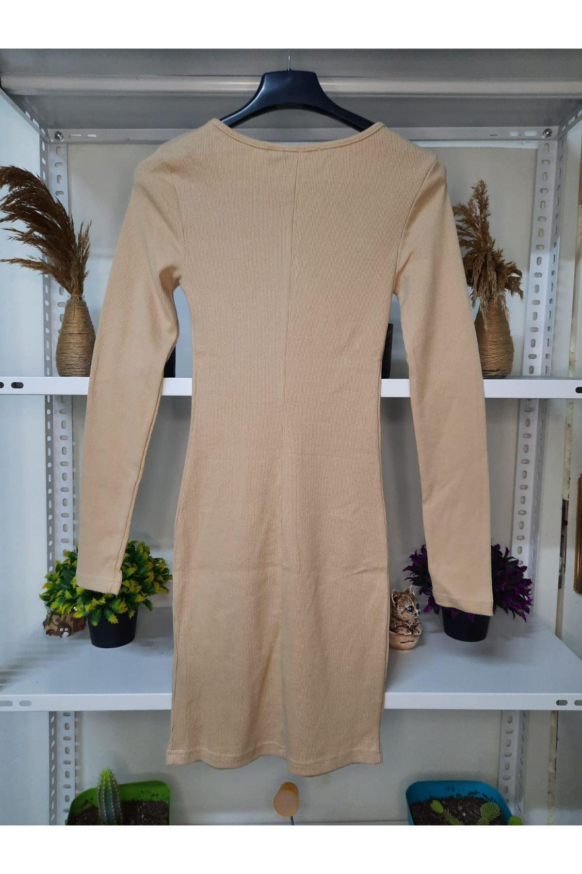 Düğme Aksesuar Kaşkorse elbise - BEJ