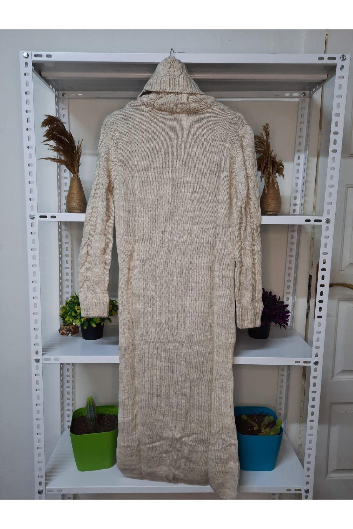 Balıkçı Yaka Örgü Triko Elbise - taş
