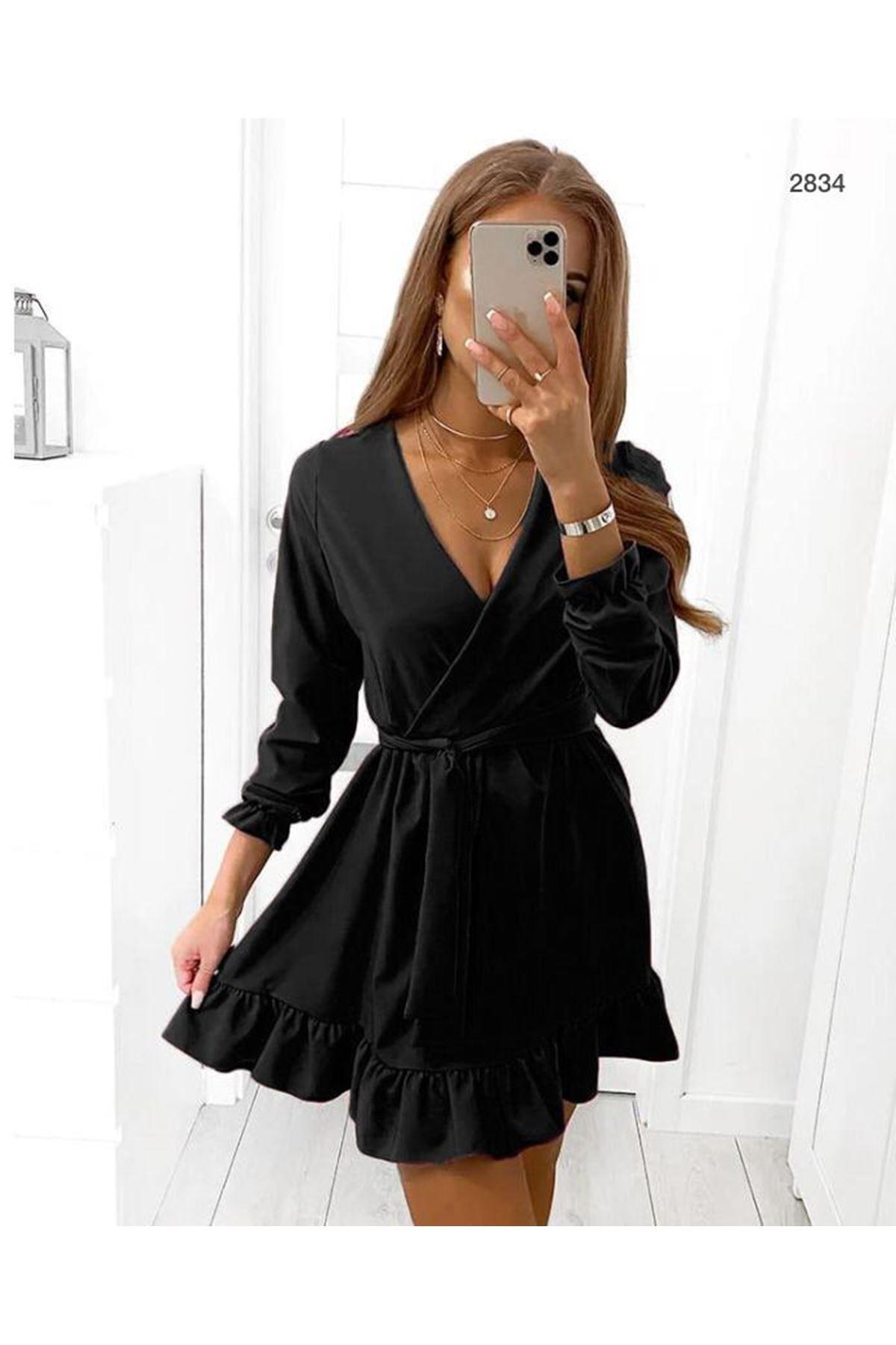Kravuze Kuşaklı Elbise - siyah