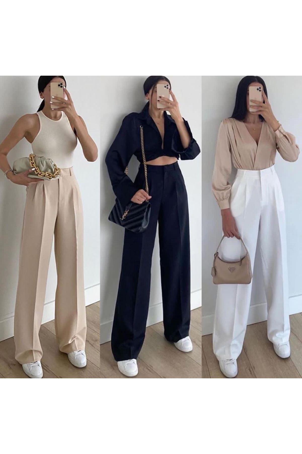 Pallazo pantolon - Beyaz