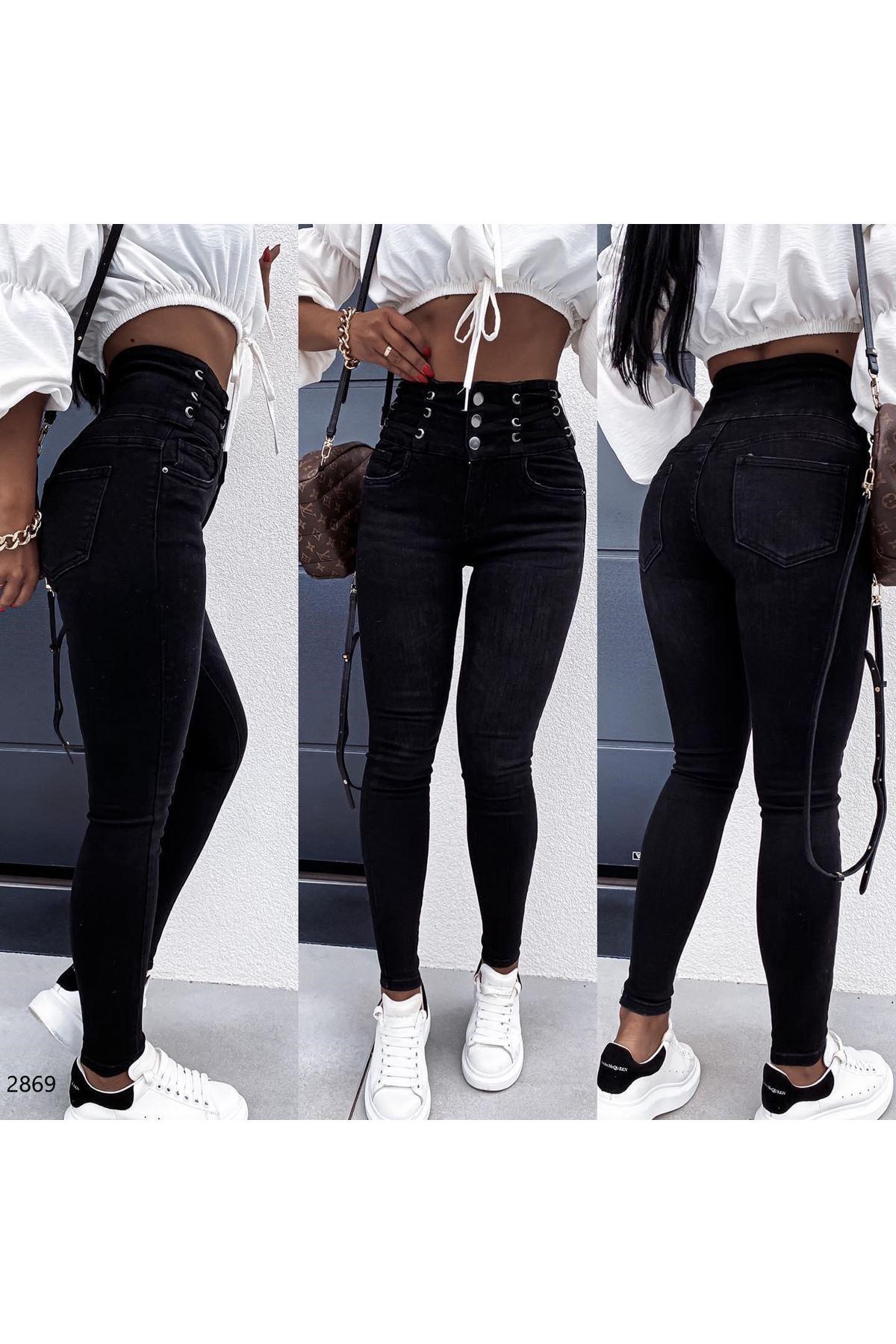Yüksek Bel Lastikli Pantolon - SİYAH