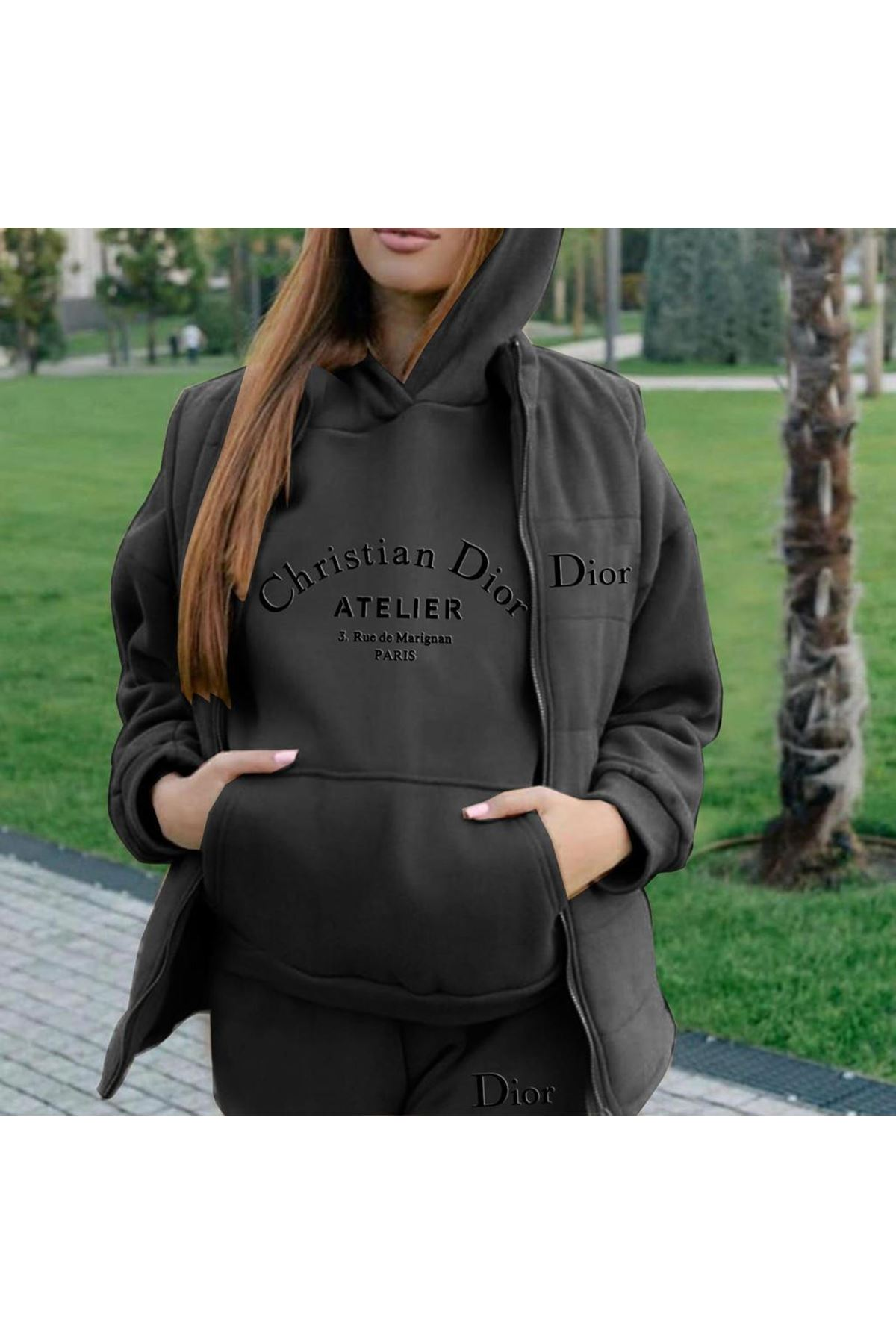 3'lü Dior Takım - siyah