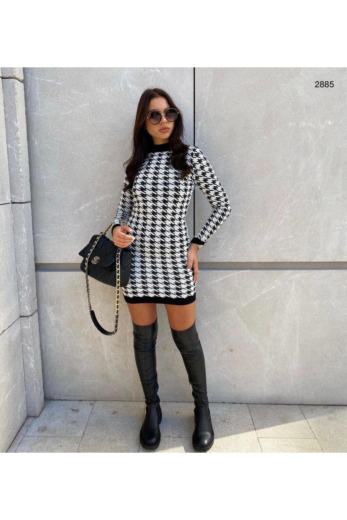 Kazayağı Desen Mini Elbise - MULTİ