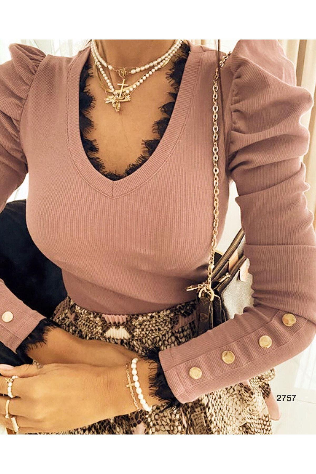 Kol Ve Yaka Dantel Detay Bluz - gül kurusu