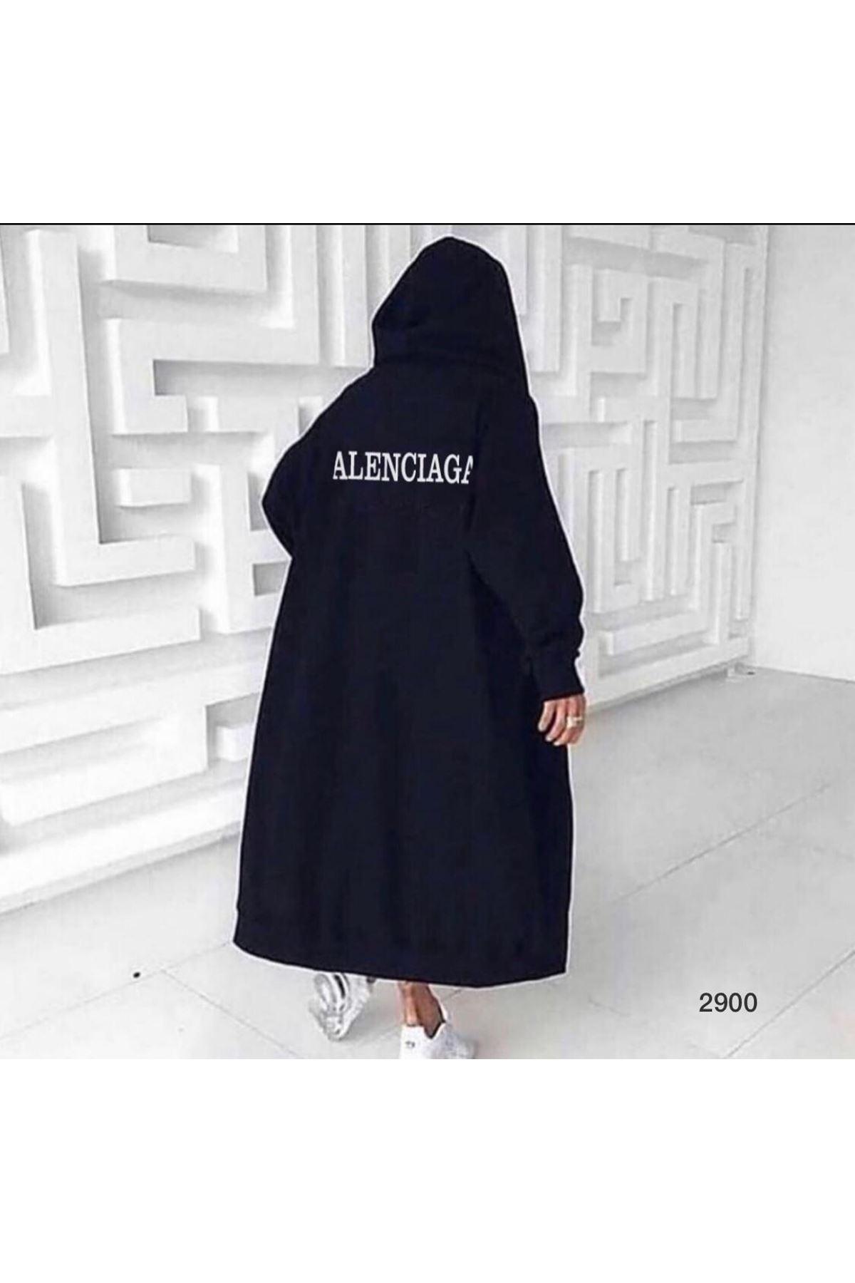 Bale Model Kapşonlu Ceket - siyah