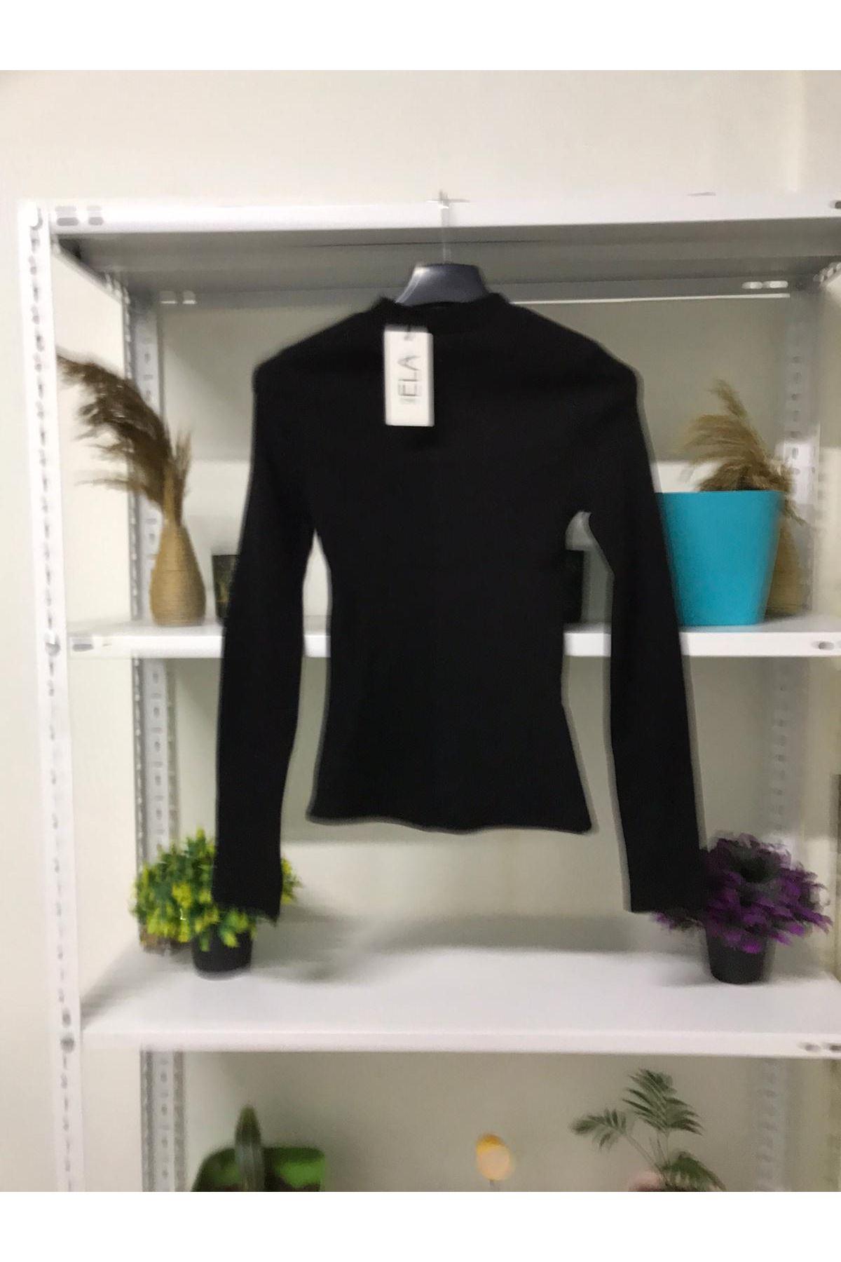 Göğüs Pencereli Bluz - siyah
