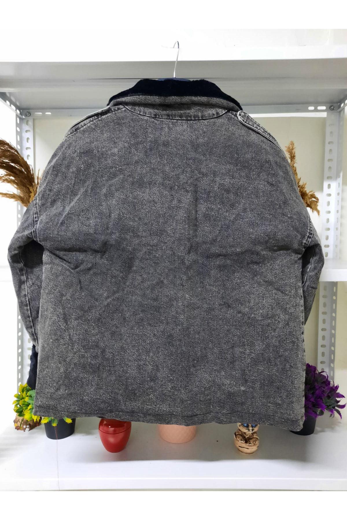Geniş Cepli Kot Ceket - siyah