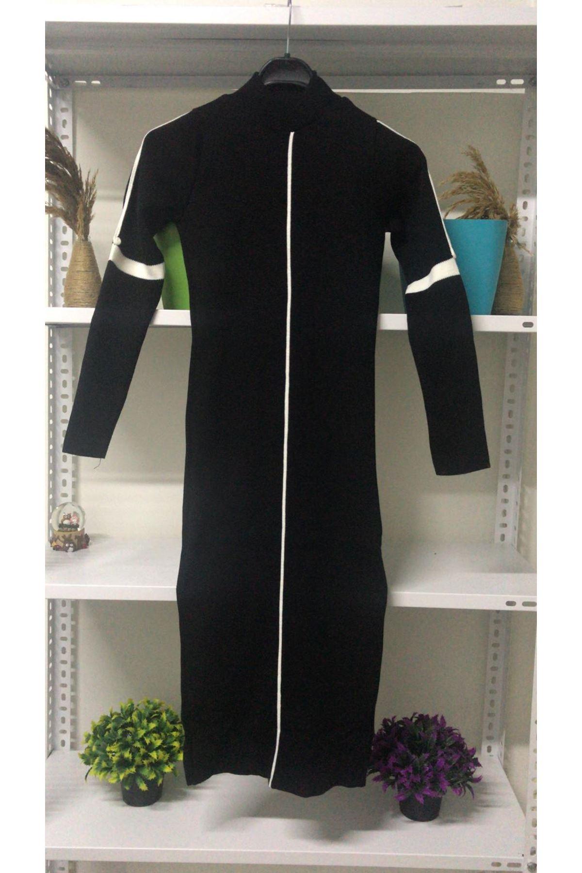 Biye Şeritli Triko Elbise - siyah