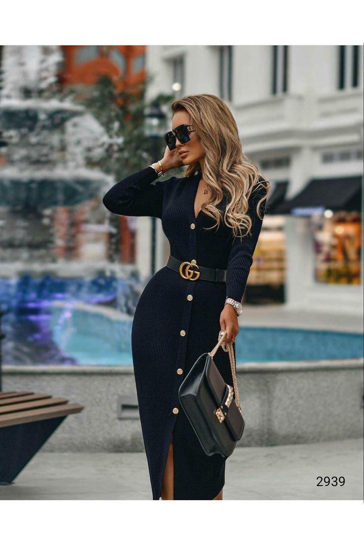 Akrelik Triko Örme Elbise - Siyah