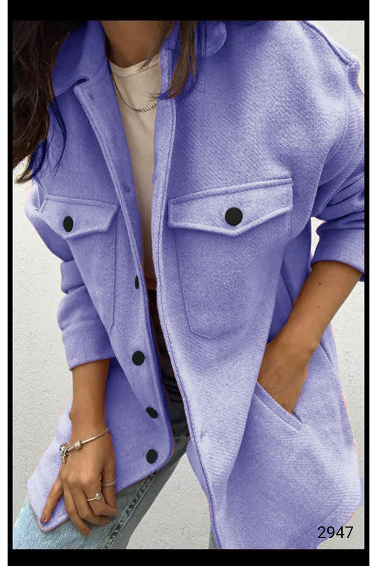 Cep Detaylı Kaşe Gömlek Ceket - LİLA