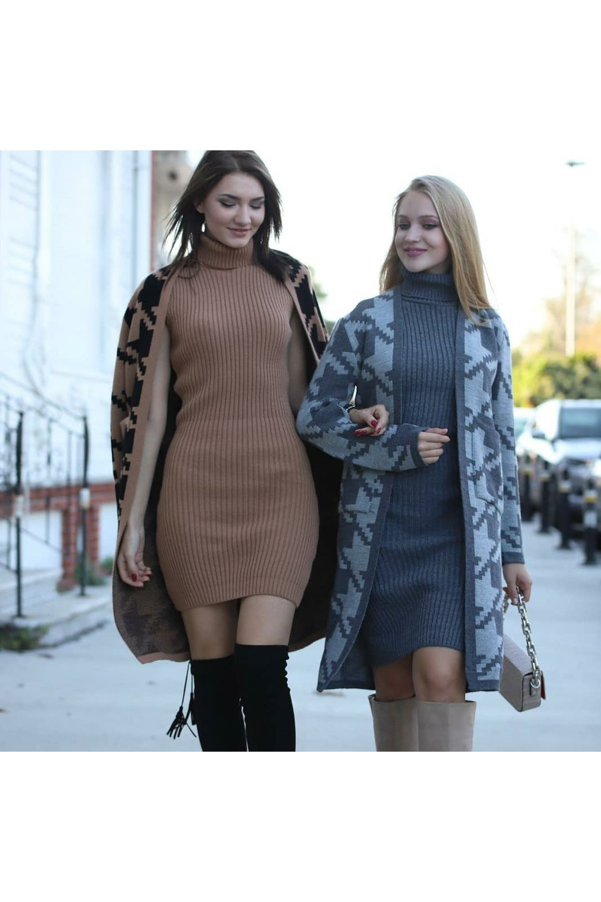 Kazayağı Triko Hırka+Elbise Kombin - VİZON