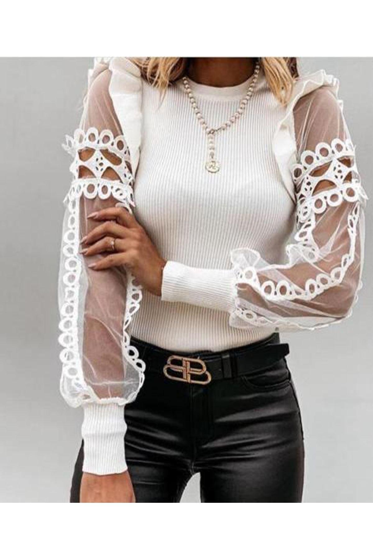 Güpür ve Dantel Detaylı Bluz - Beyaz