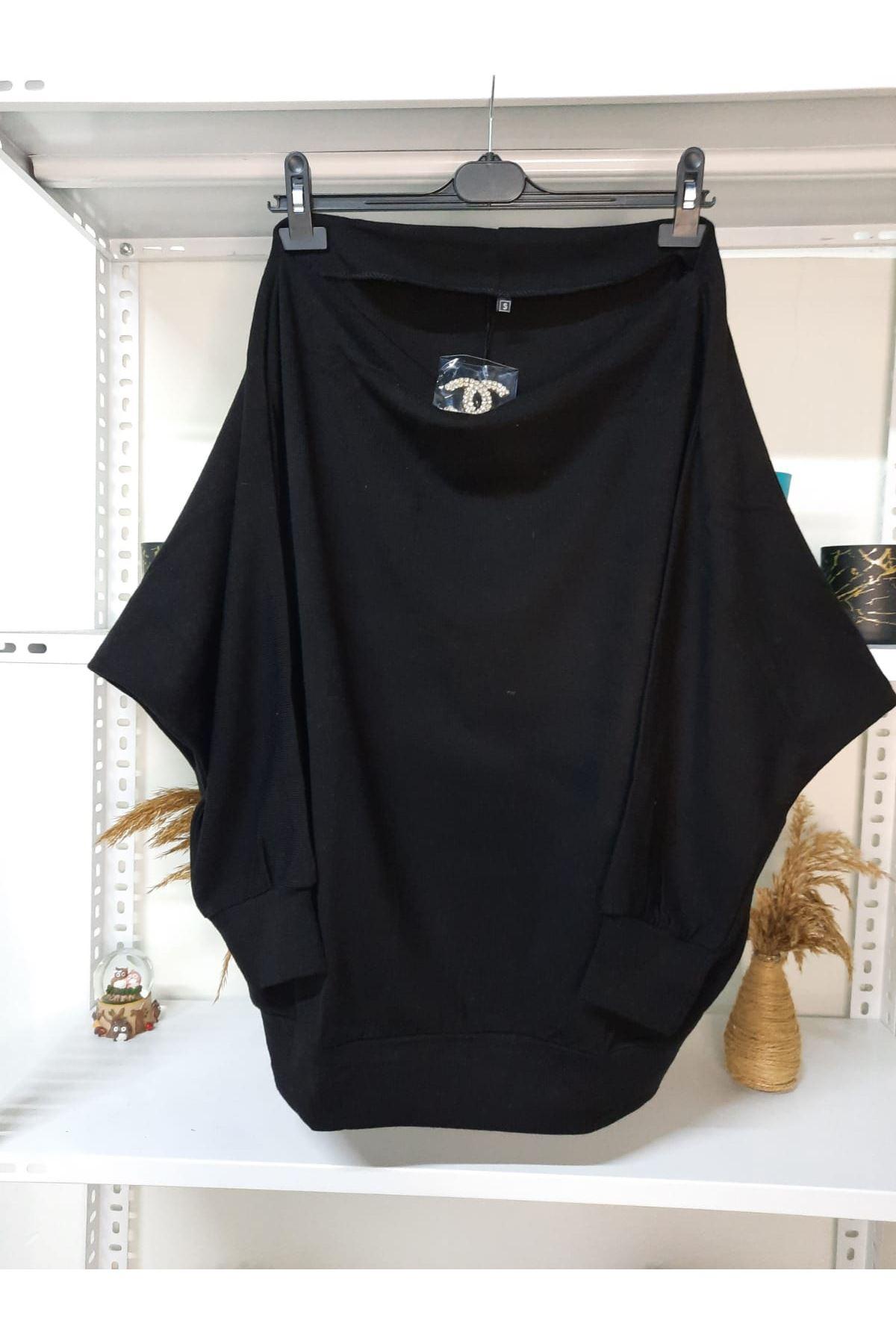 Yarasa Kol Rozetli Bluz - siyah