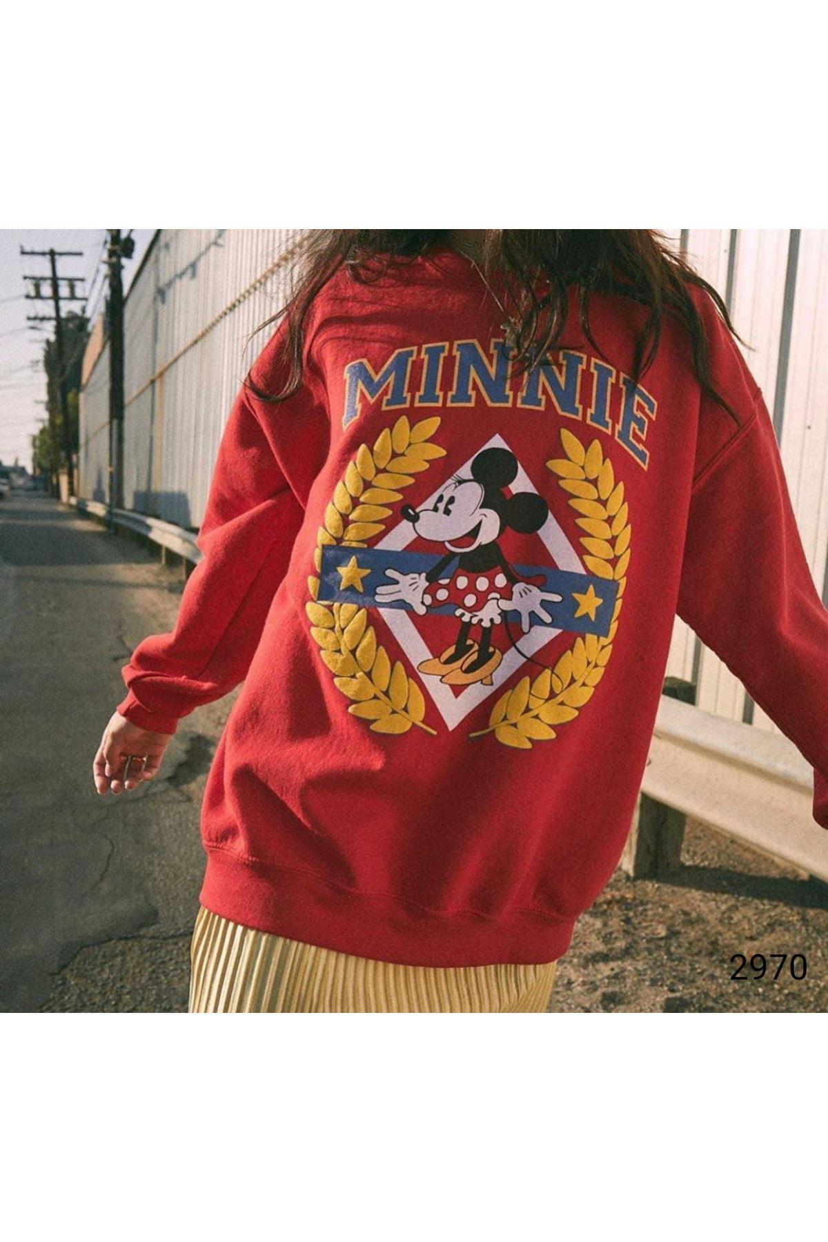 Mini Basklı Sweatshirt - Kırmızı