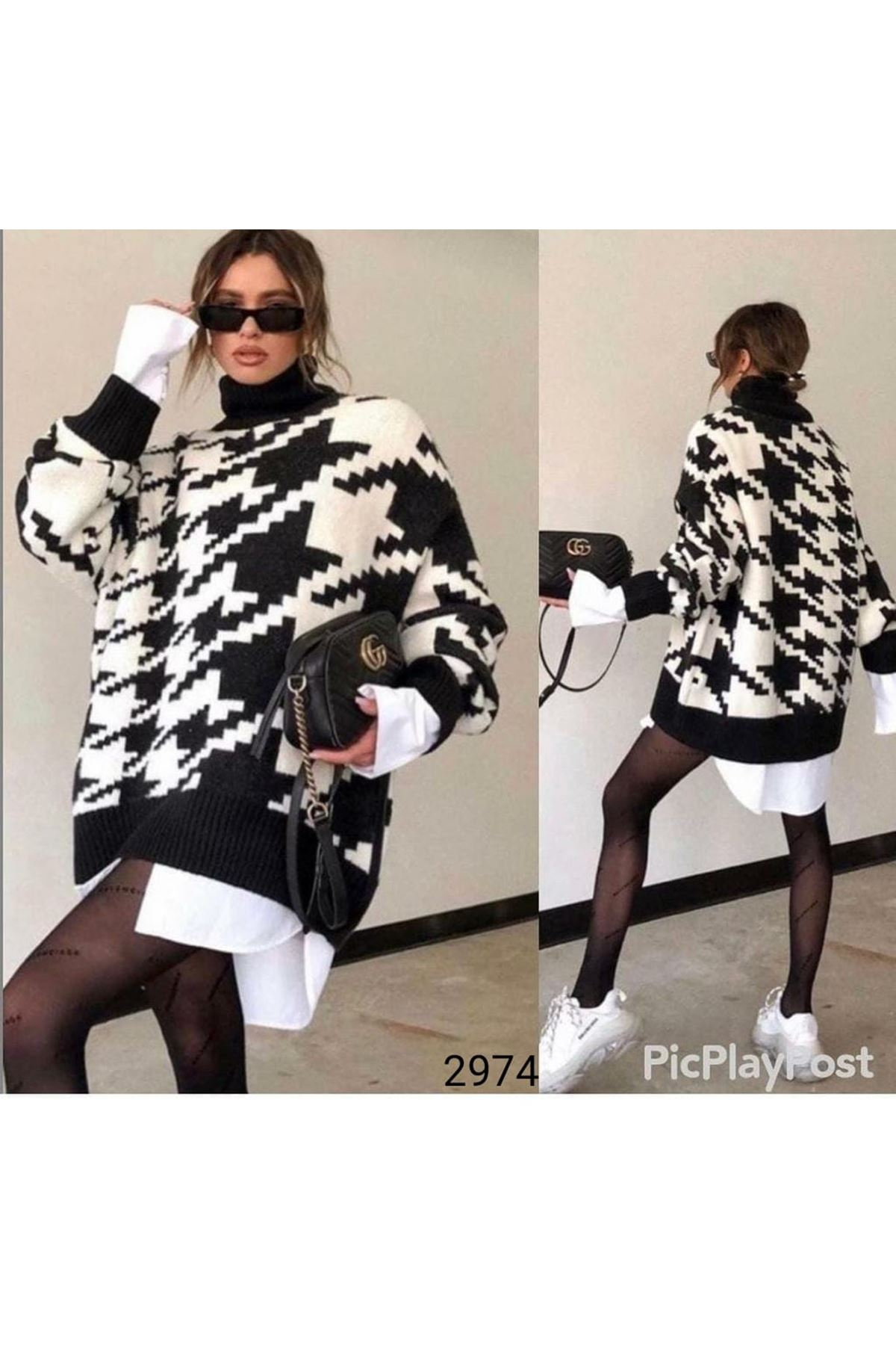 Overzise Kazayağı Desen Kazak-Elbise - Multi