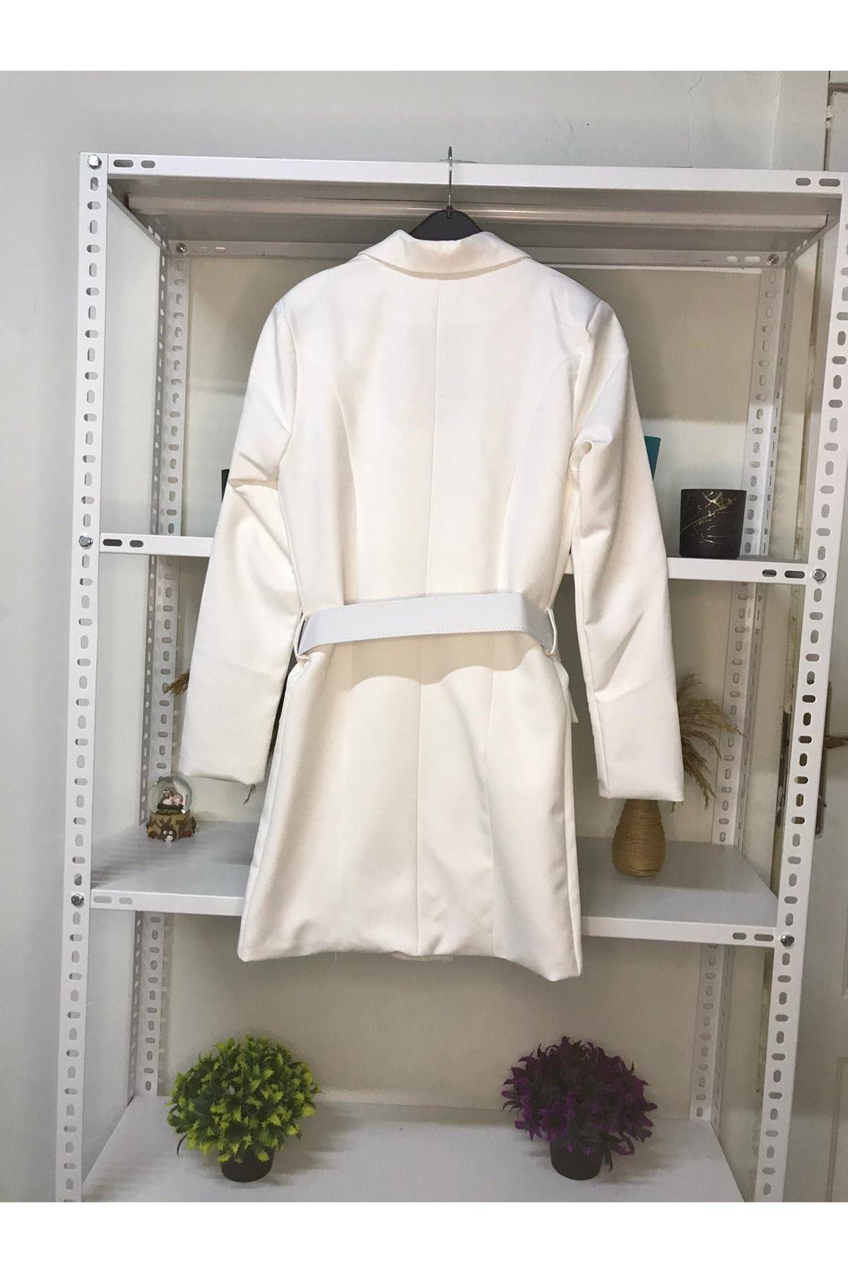 Kemer Detaylı Ceket Elbise - EKRU