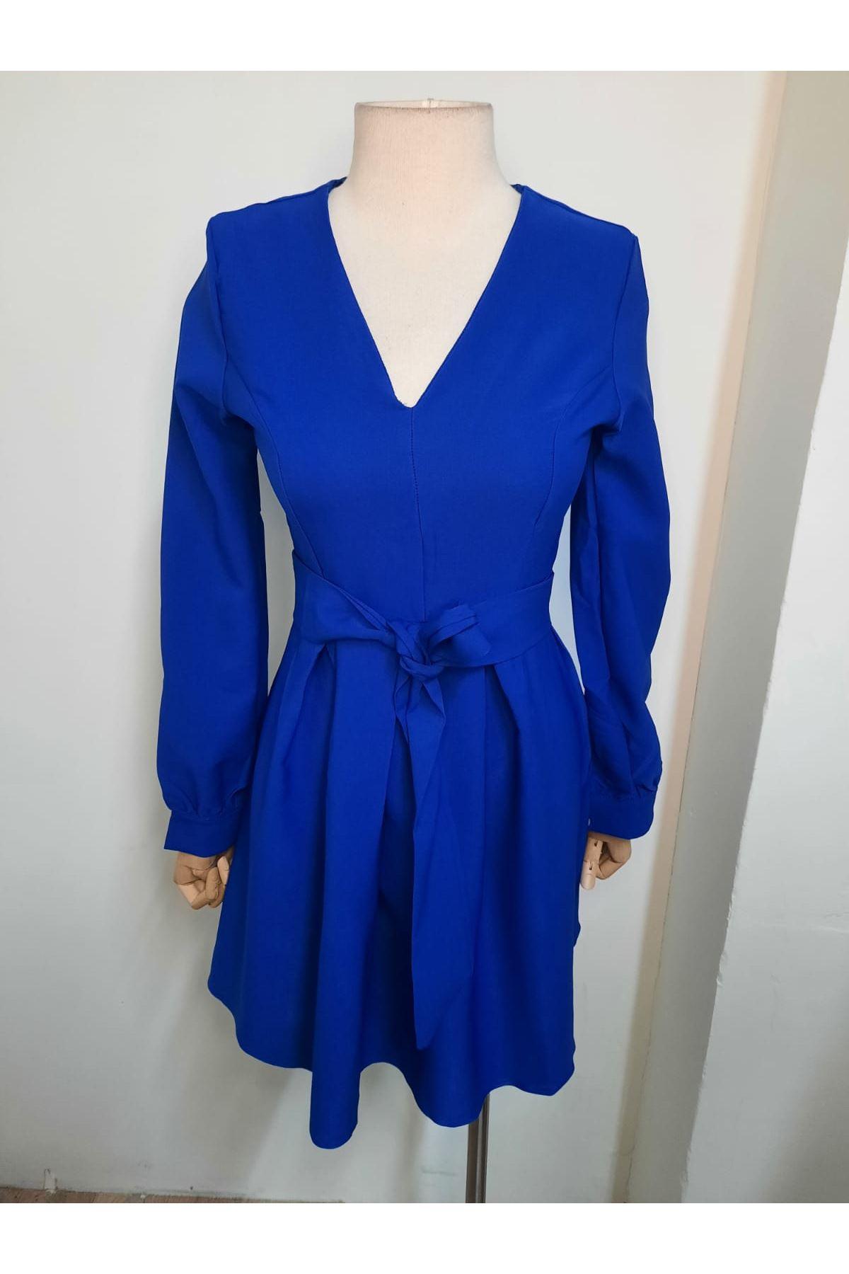 Kuşaklı Mini Elbise - Mavi