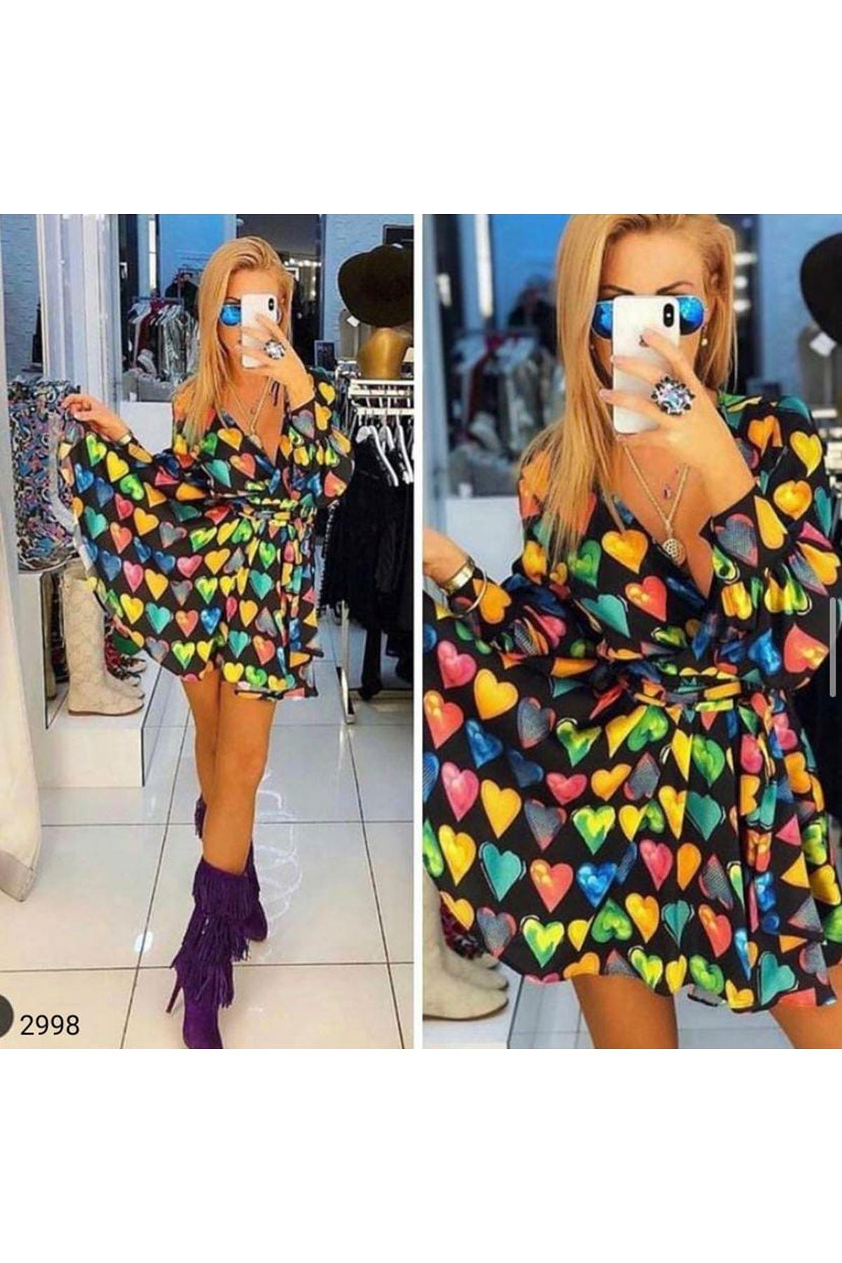 Kalp Baskılı Mini Elbise - Multi