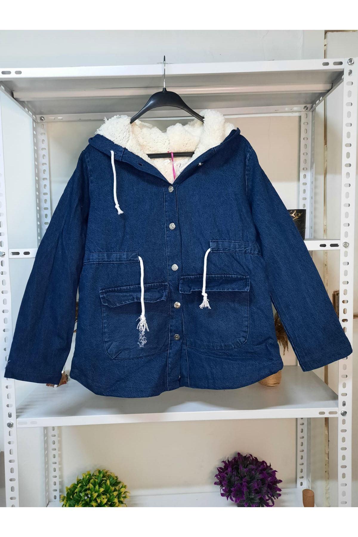 Peluş Detaylı Kot Ceket - Mavi