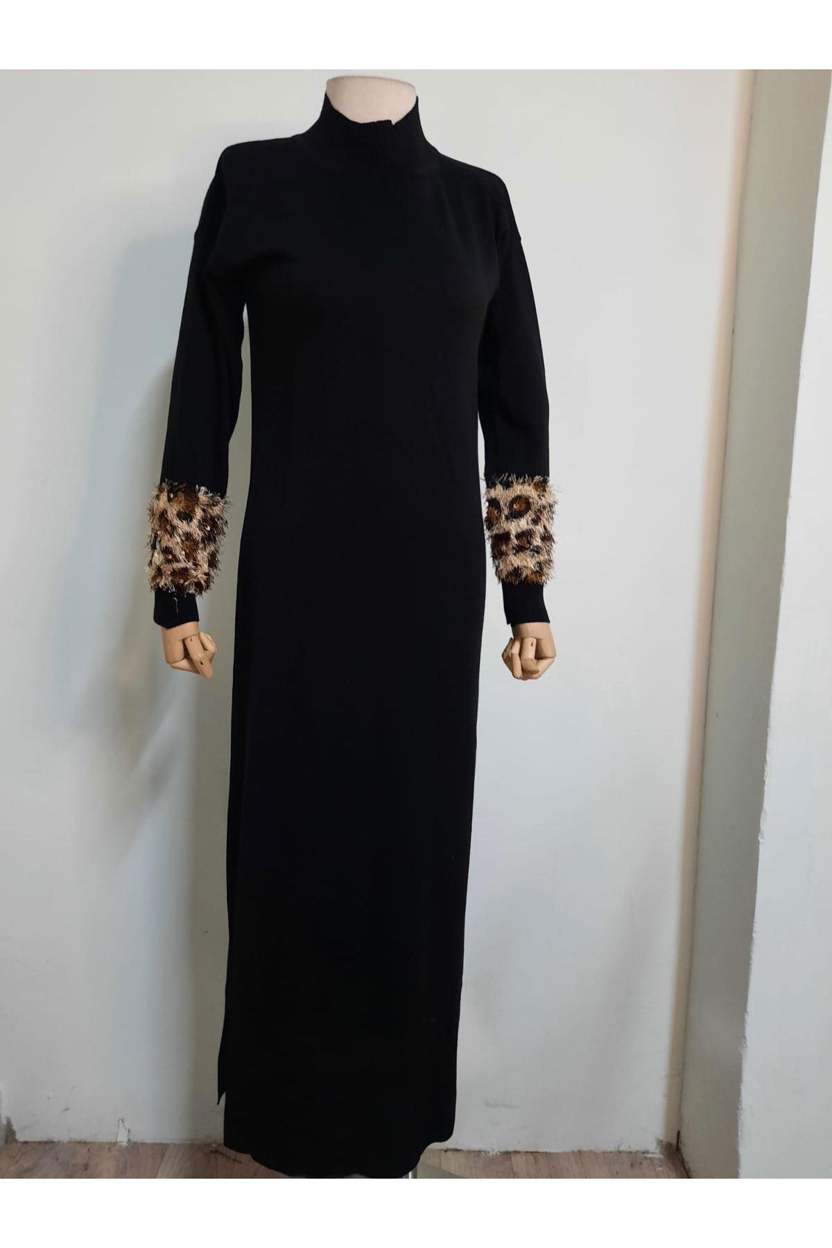 Leopar Detaylı Yırtmaçlı Elbise - Siyah