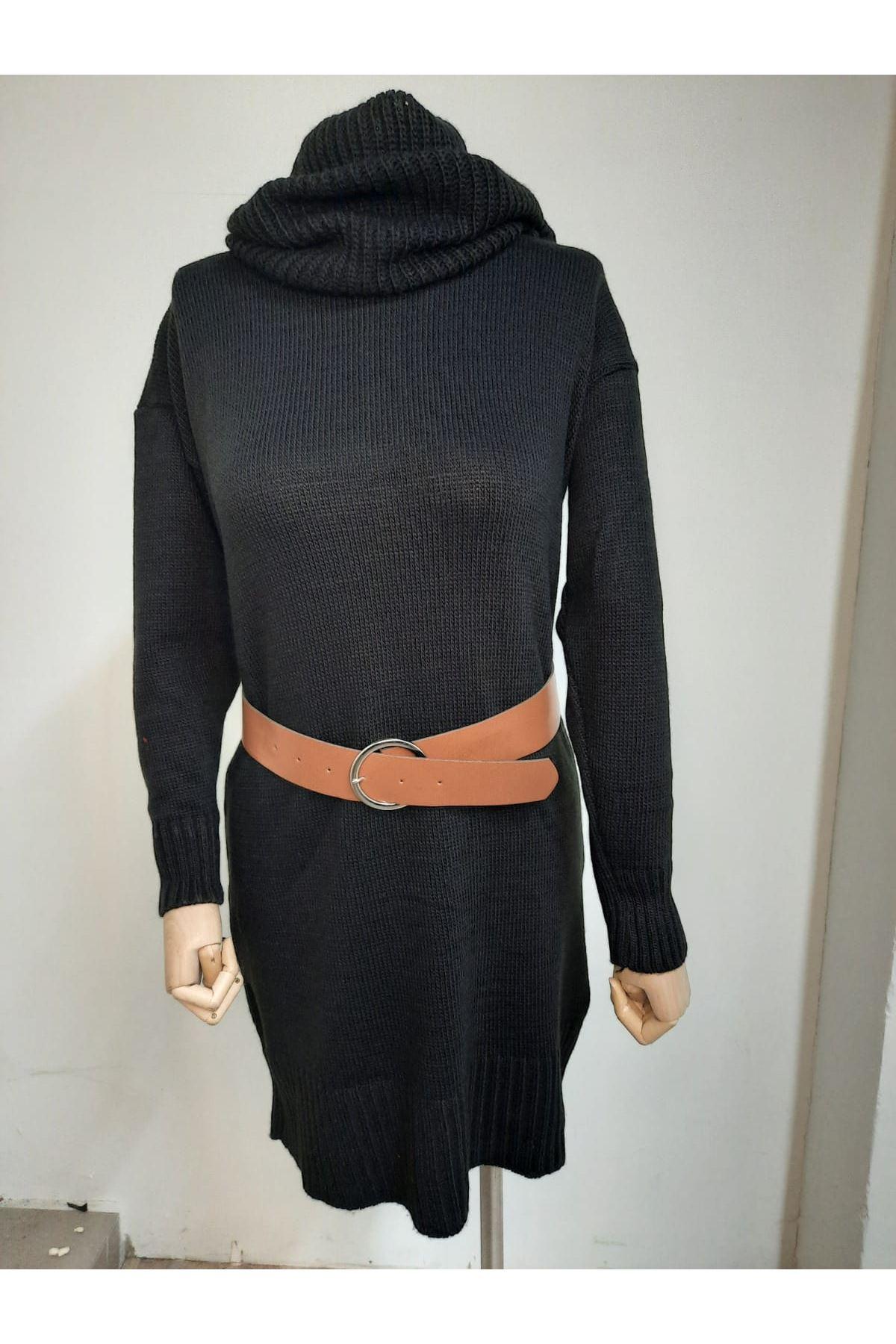 Toka Kemerli Salaş Elbise  - Siyah