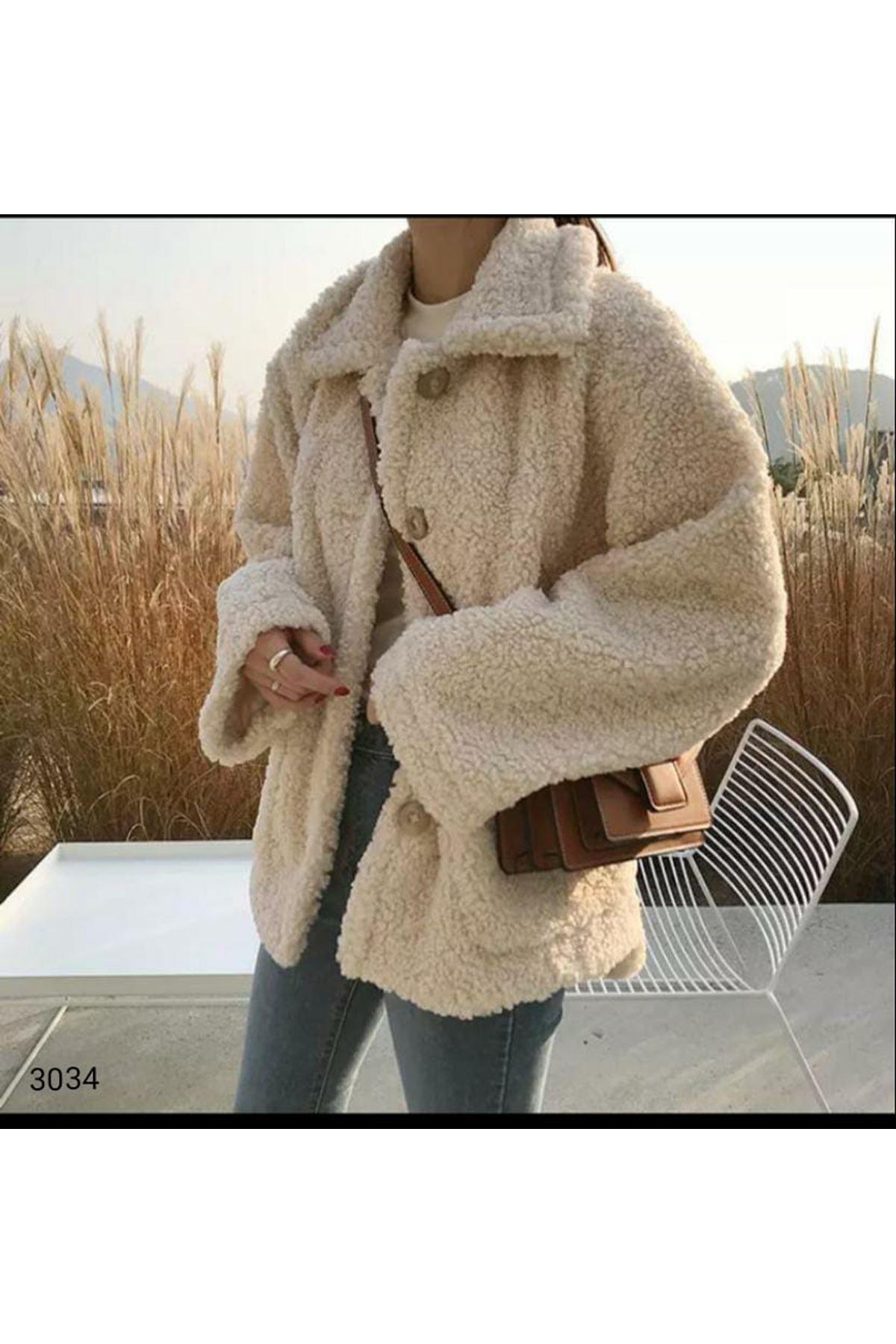 Düğmeli Peluş Ceket - Bej