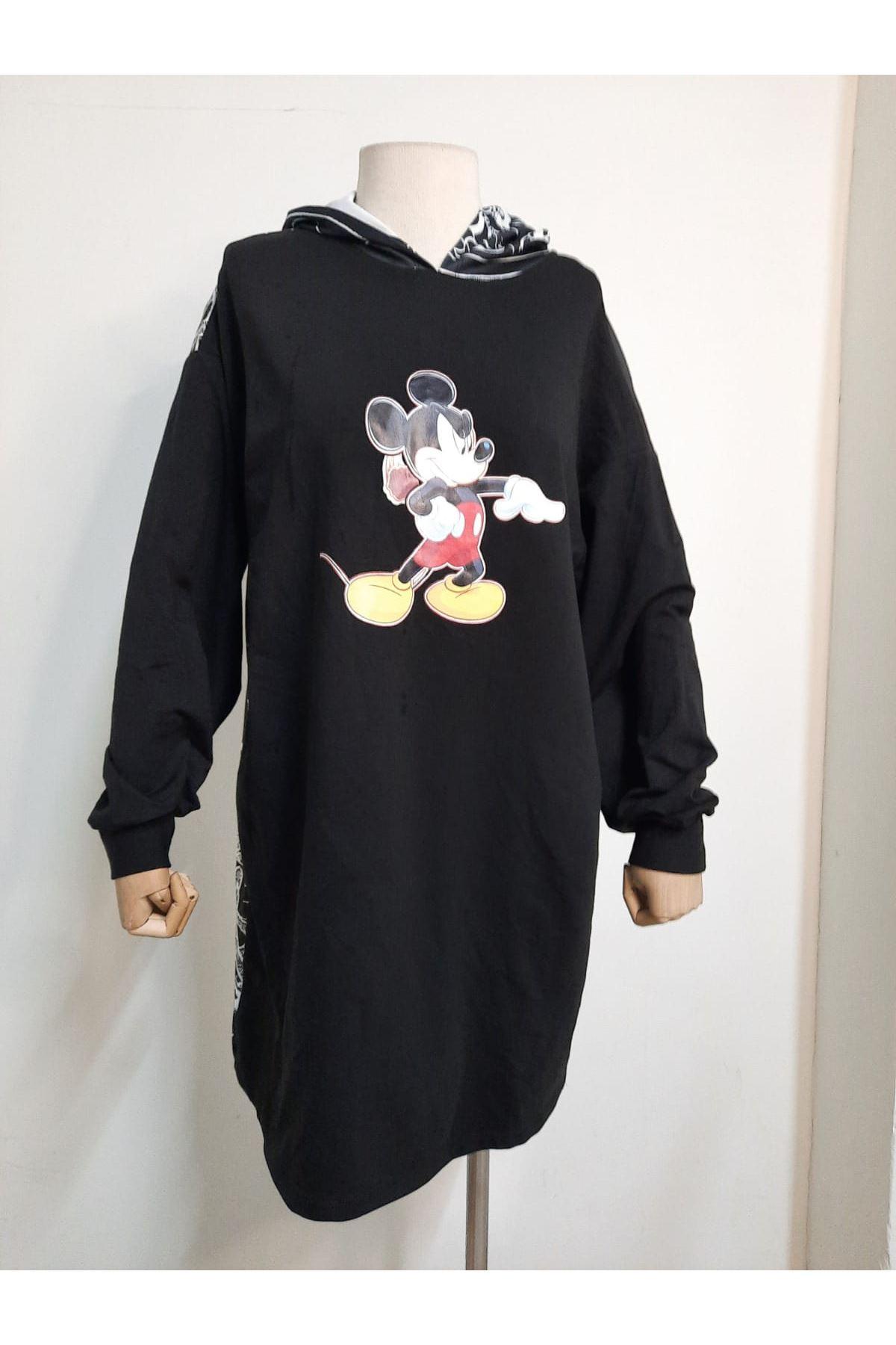 Mickey Baskılı Tunik sweat - Siyah