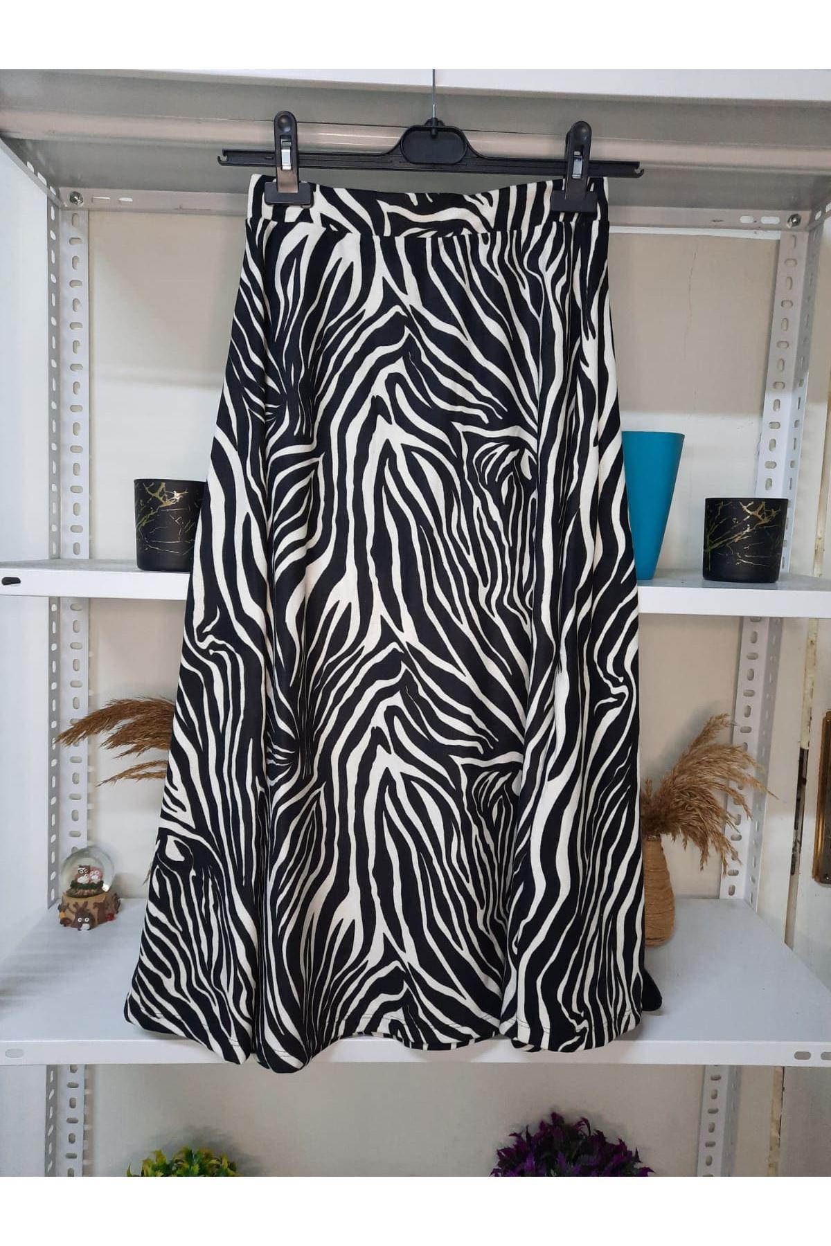 Zebra Baskılı Etek - Zebra